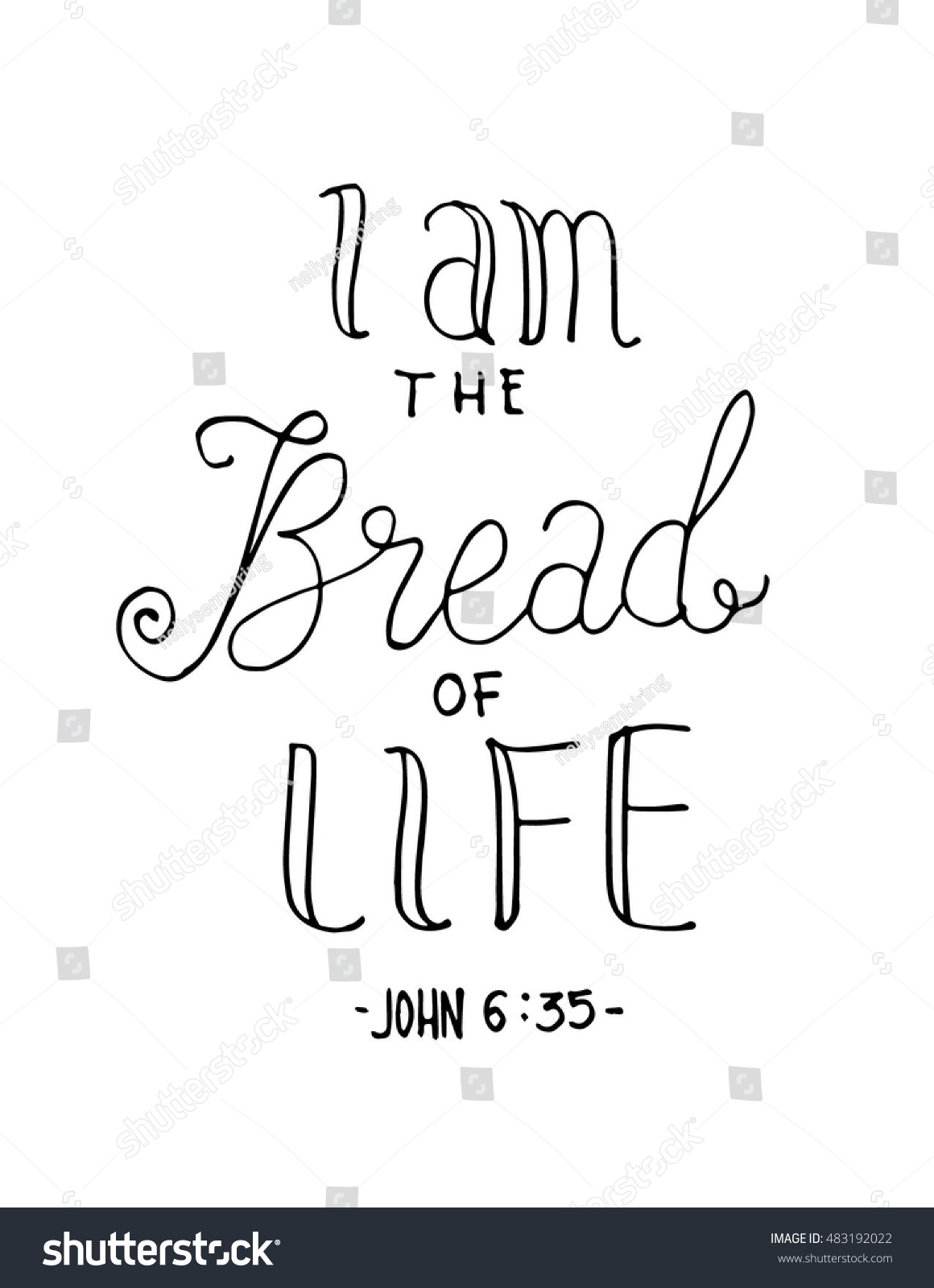 Bread Life Hand Lettered Quote Bible Stock Vector Royalty Free