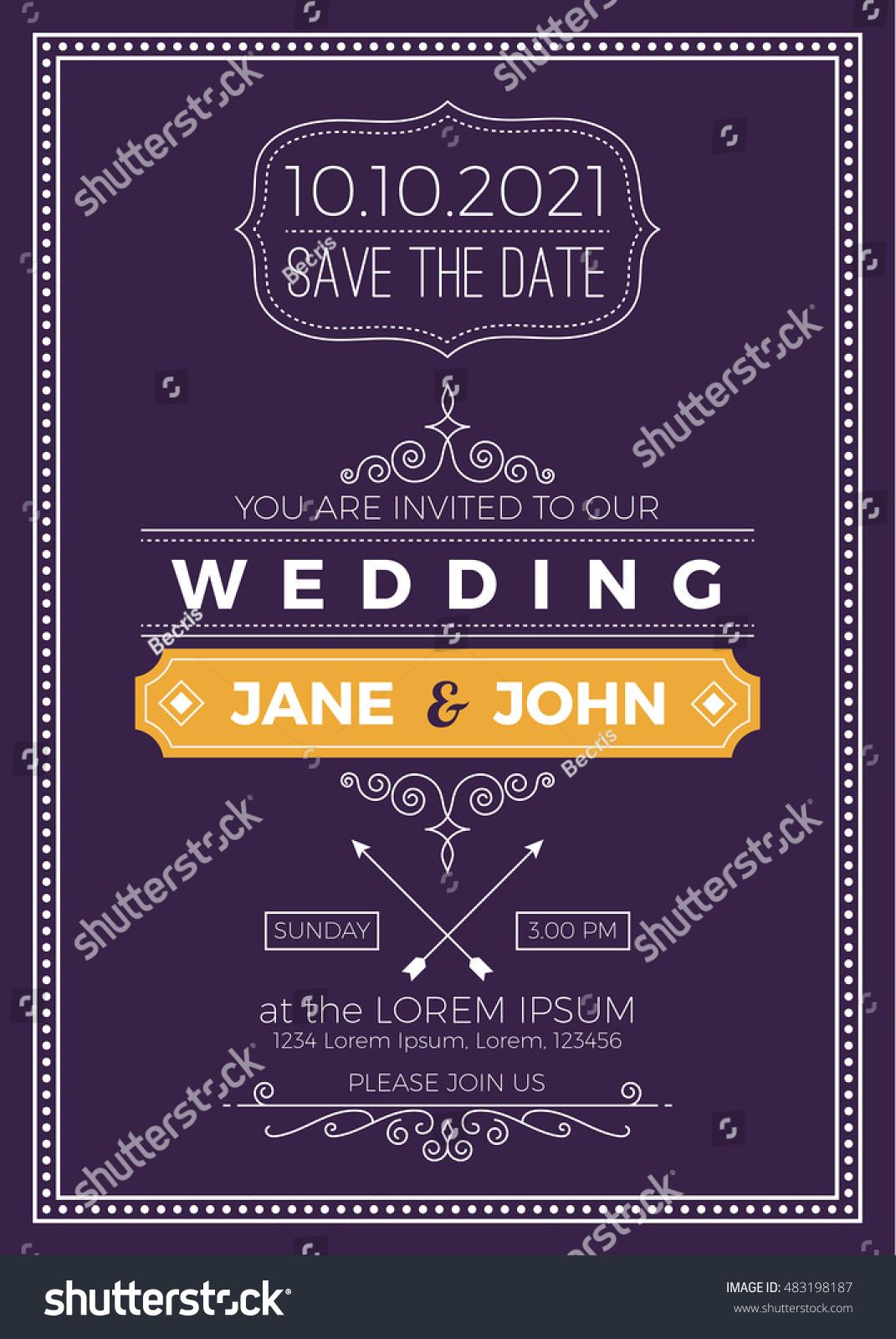 Vintage Wedding Invitation Card A 5 Size Image Vectorielle De Stock