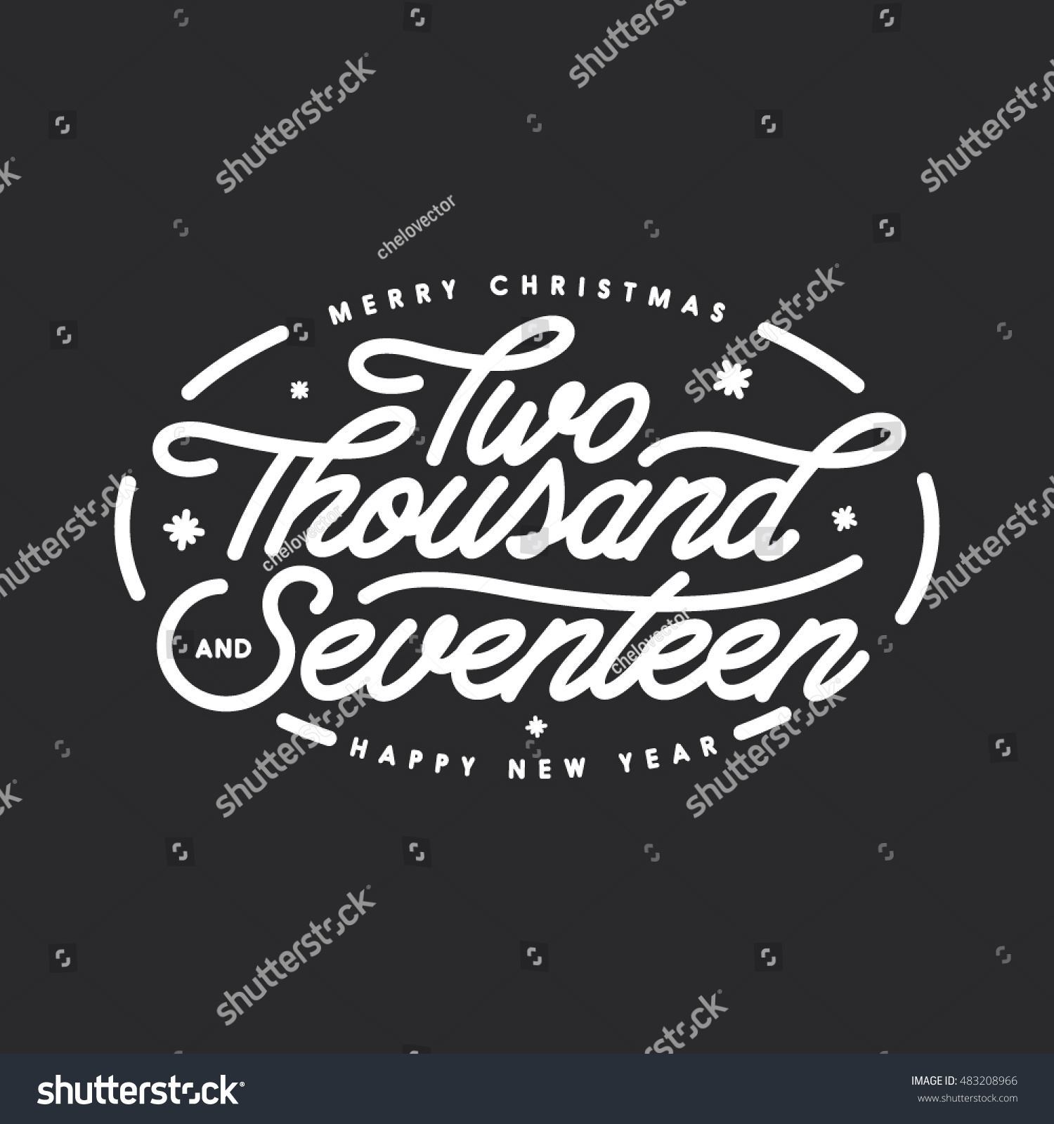 Merry Christmas Happy New Year Lettering Stock Vector 483208966 ...