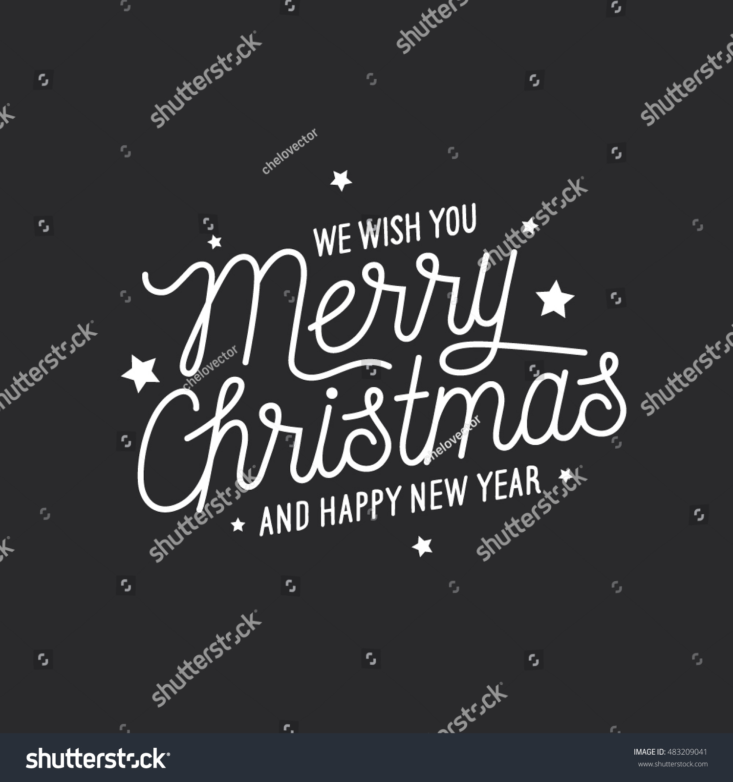 Merry Christmas Happy New Year Lettering Stock Vector 483209041 - Shutterstock