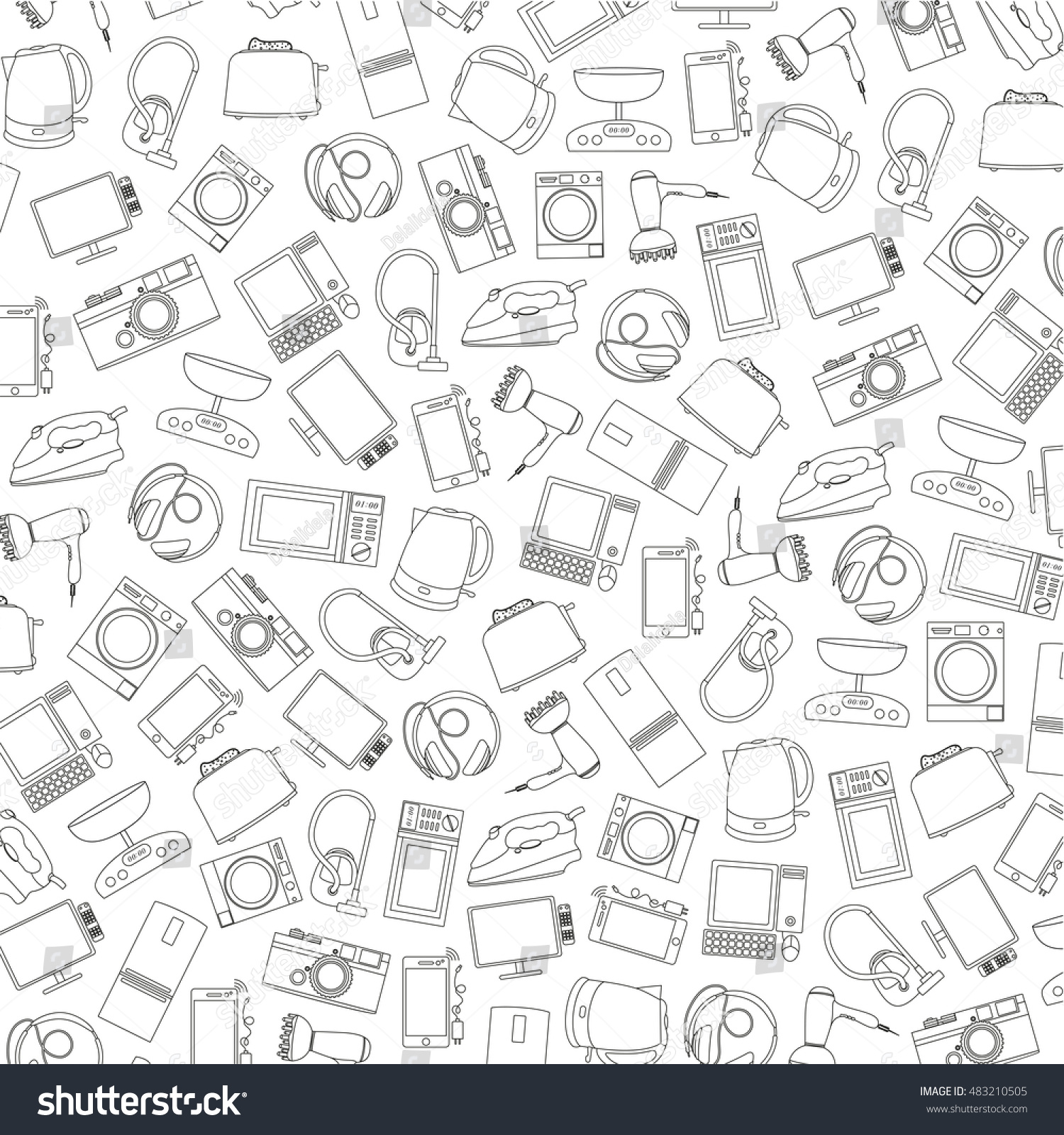 vector pattern of hand-drawn icons of home appliances