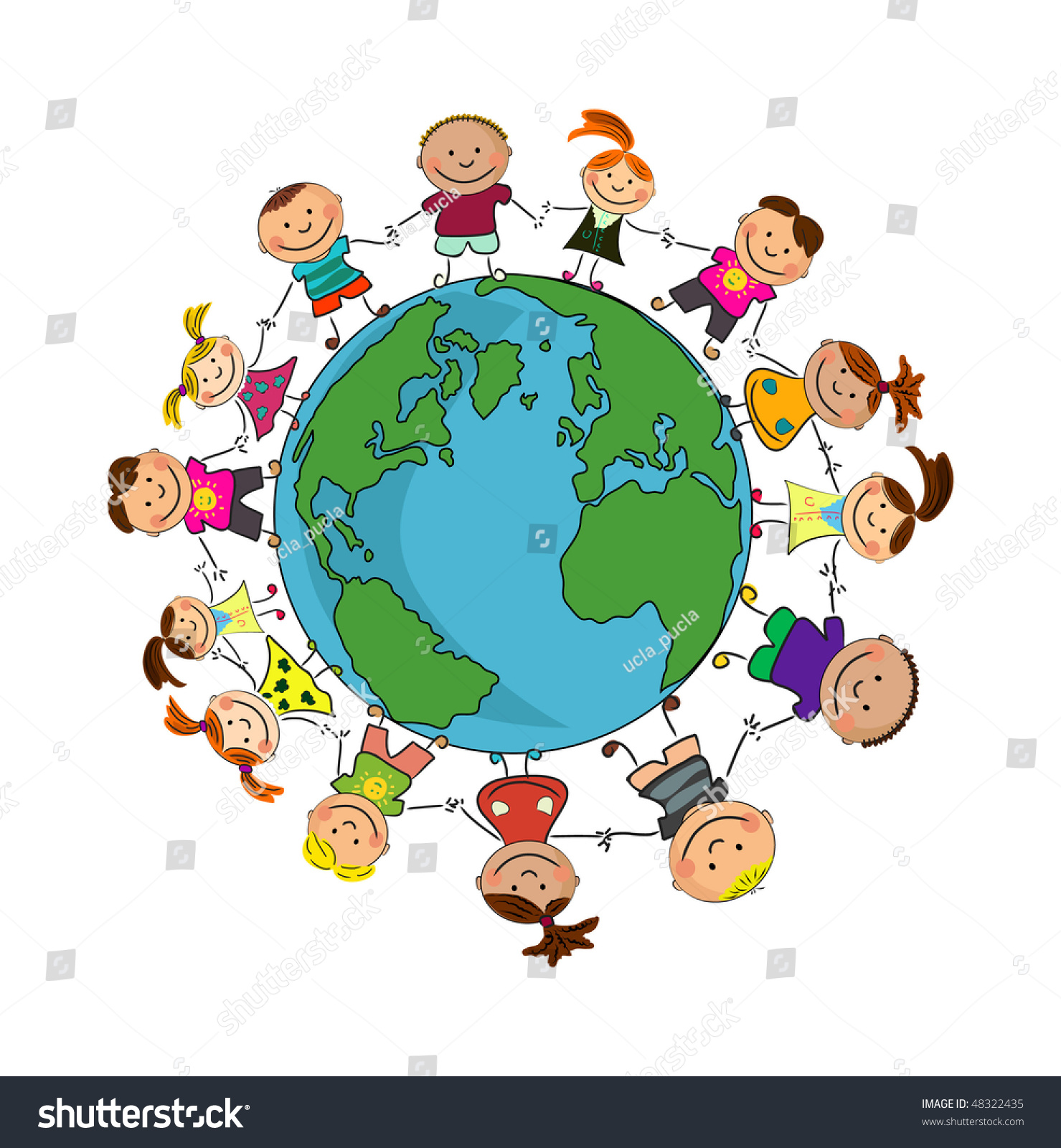 Kids Around World Stock Vector 48322435 - Shutterstock