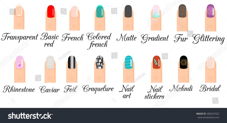 Nail Design Art Set Illustration Of Trendy Manicure Styles Gradient
