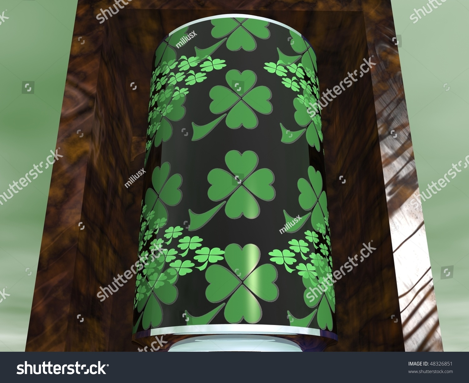 st patricks day patterned tin can wooden stock illustration 48326851