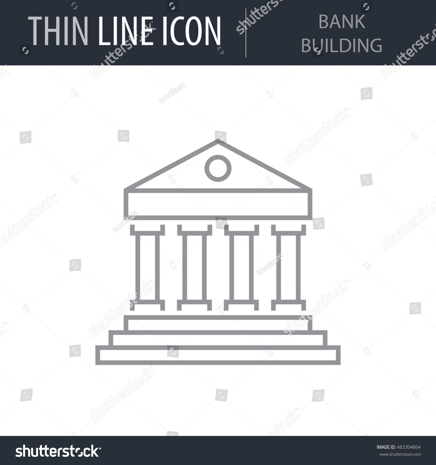 Symbol bank building thin line icon stock vector 483304864 symbol of bank building thin line icon of banking and finance stroke pictogram graphic for biocorpaavc Gallery