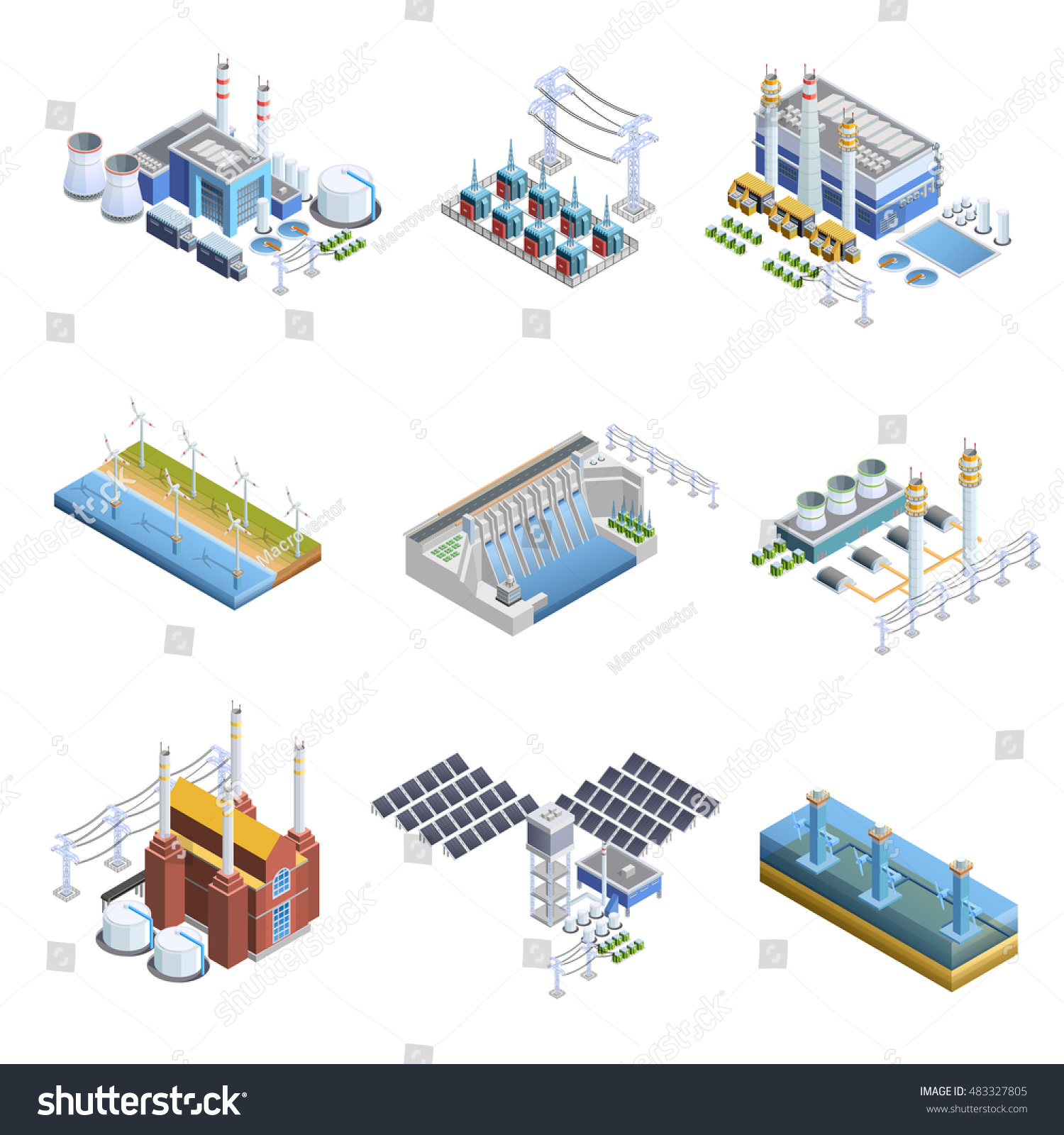 Isometric Set Different Types Electricity Stock Vector