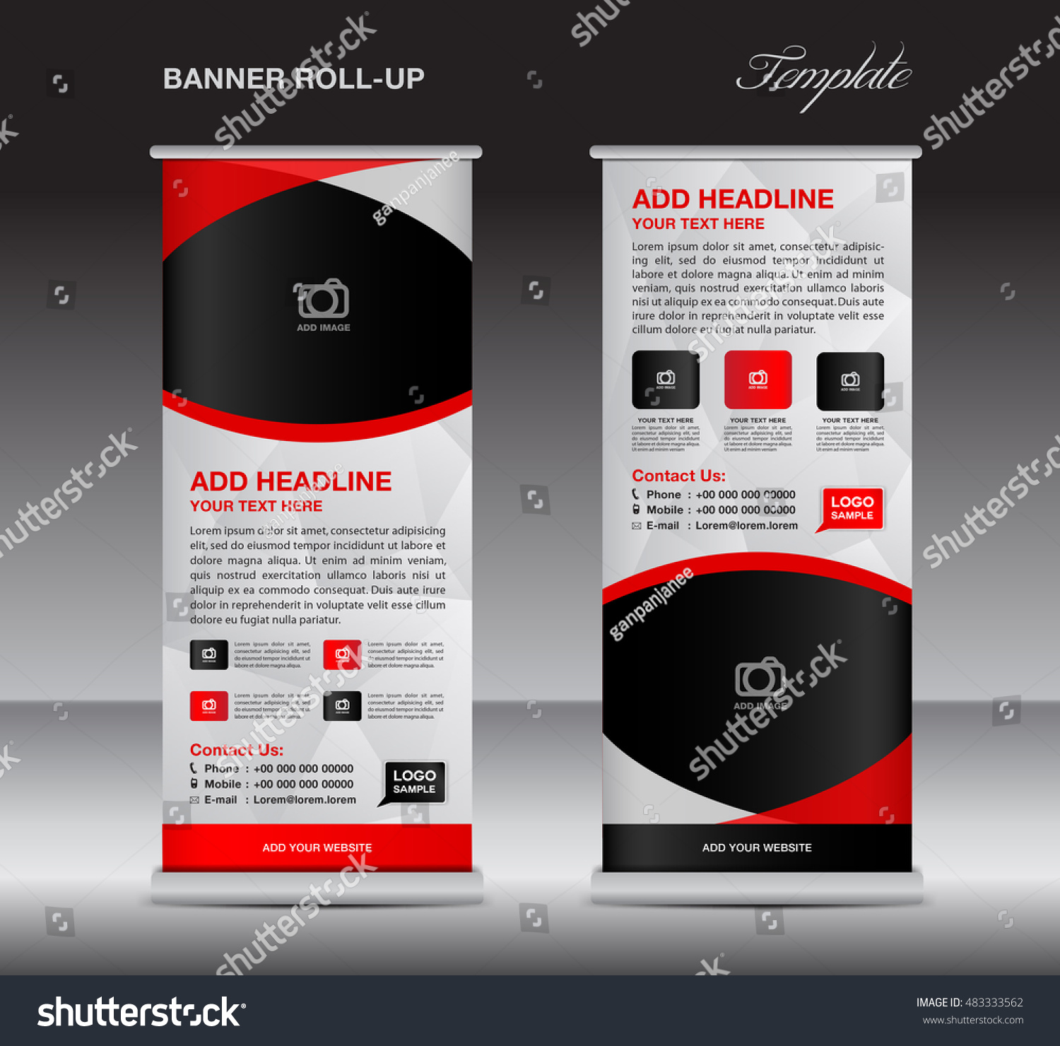 red roll banner stand template stand stock vector 483333562 shutterstock. Black Bedroom Furniture Sets. Home Design Ideas