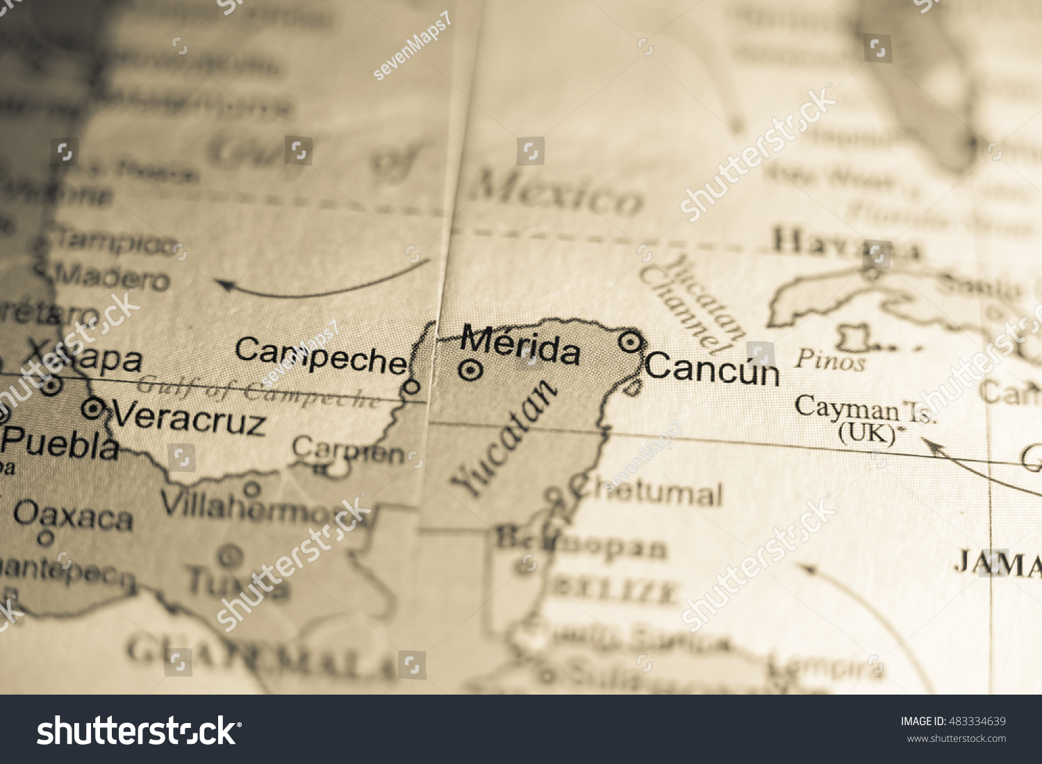 Map View Merida Mexico On Geographical Stock Photo Edit Now