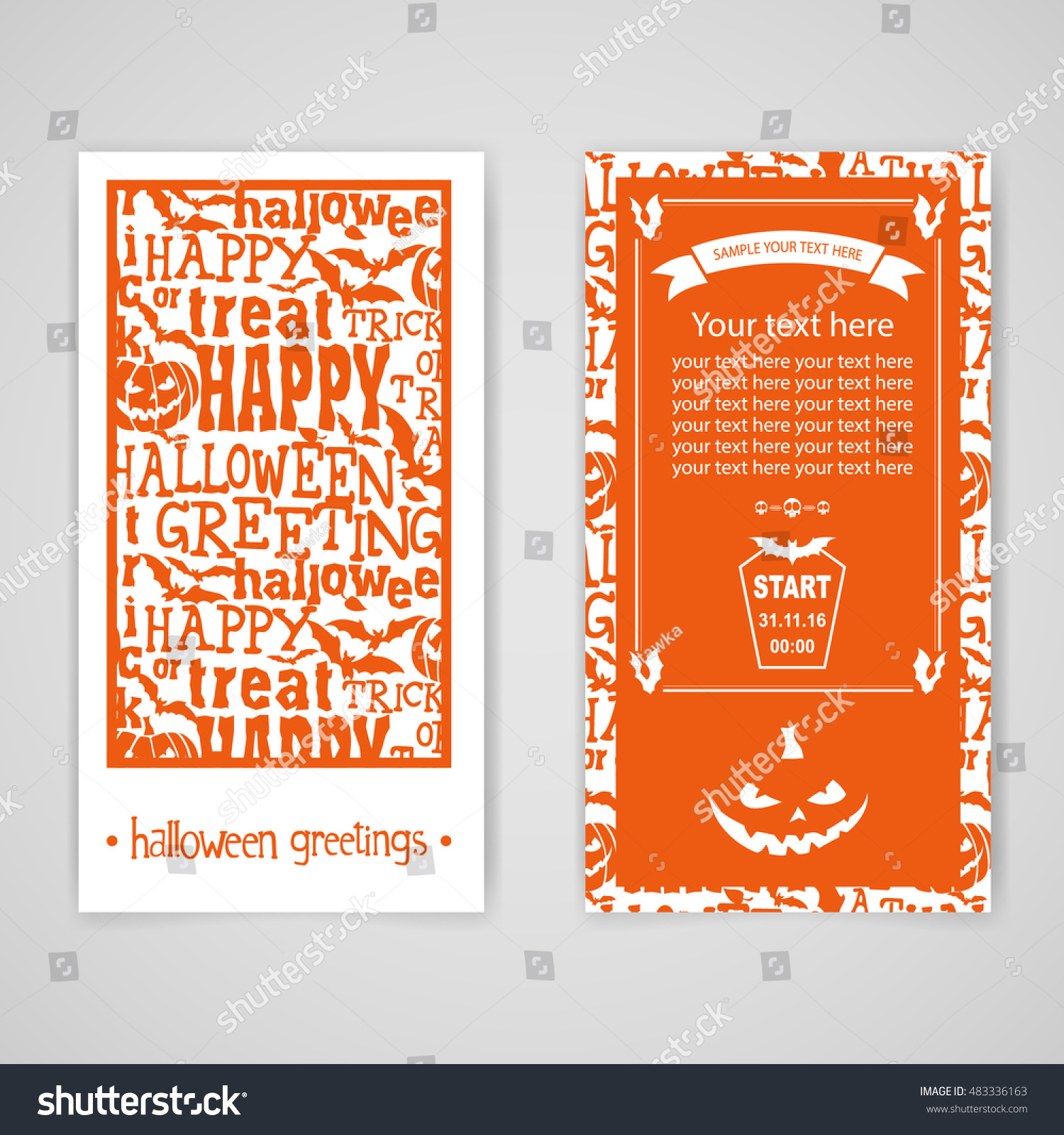 Halloween two sides flyer poster party stock vector 483336163 halloween two sides flyer or poster party invitation or greeting card in orange color kristyandbryce Images