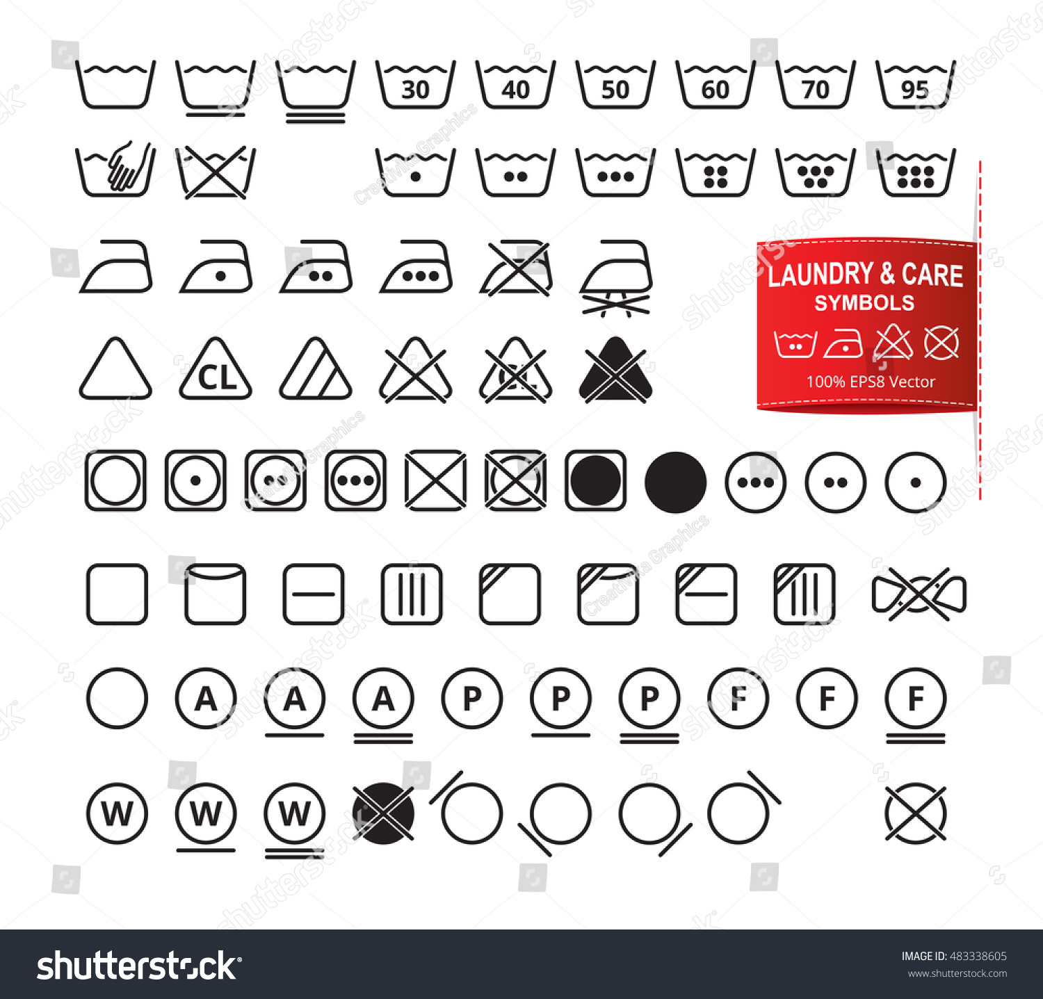 Icon Set Laundry Symbols Modern Thin Stock Vector 483338605