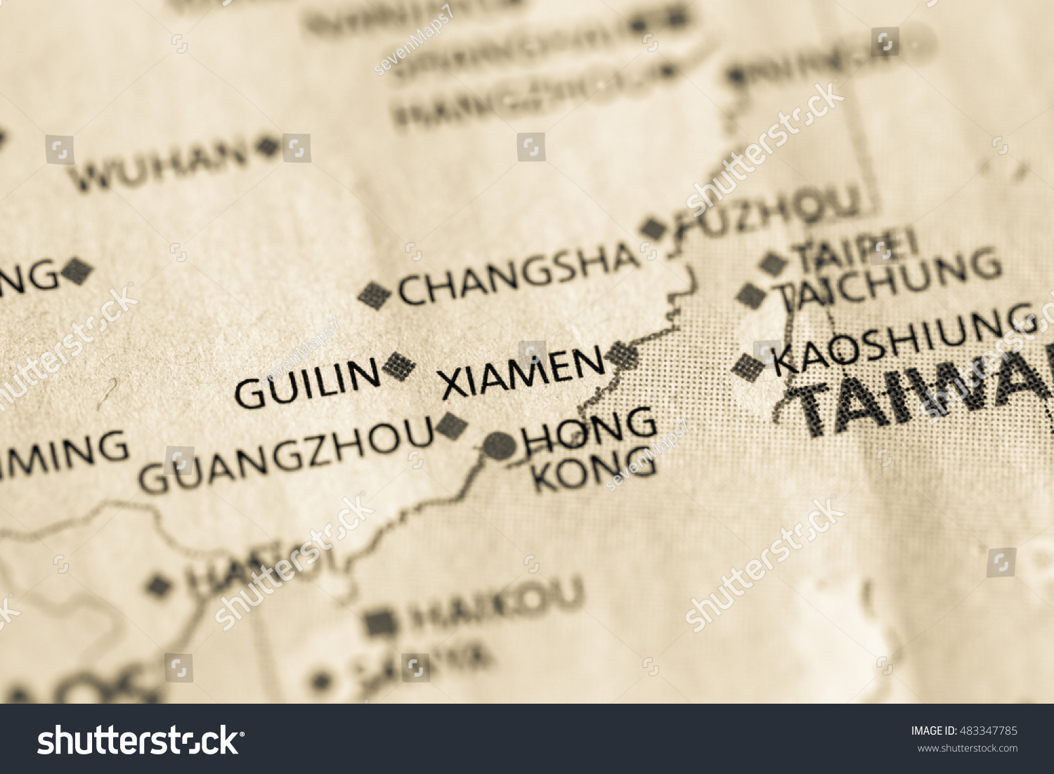 Xiamen China Map.Map View Xiamen China On Geographical Stock Photo Edit Now