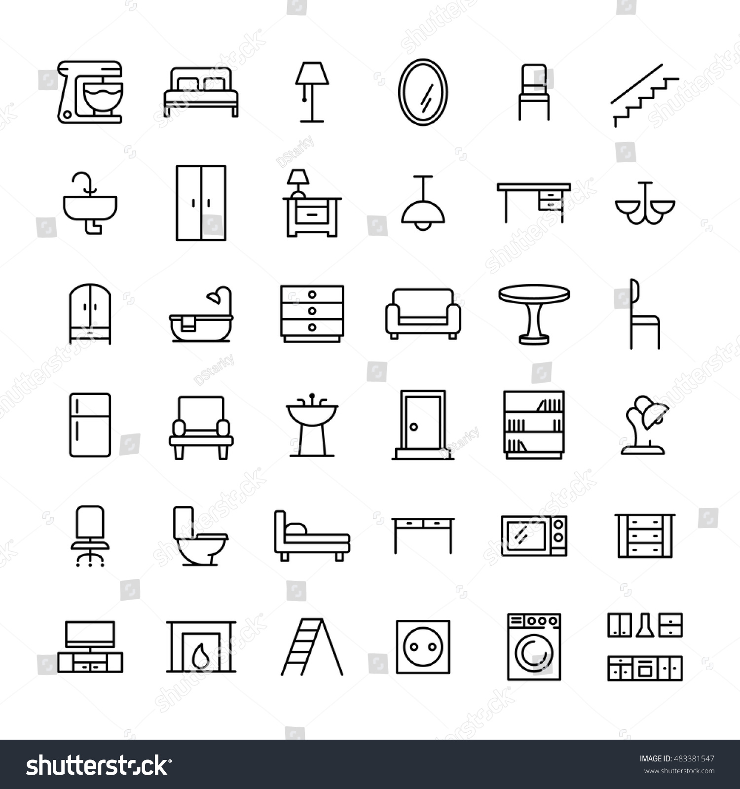 Set furniture icons modern thin line stock vector 483381547 set of furniture icons in modern thin line style high quality black outline home symbols buycottarizona Image collections