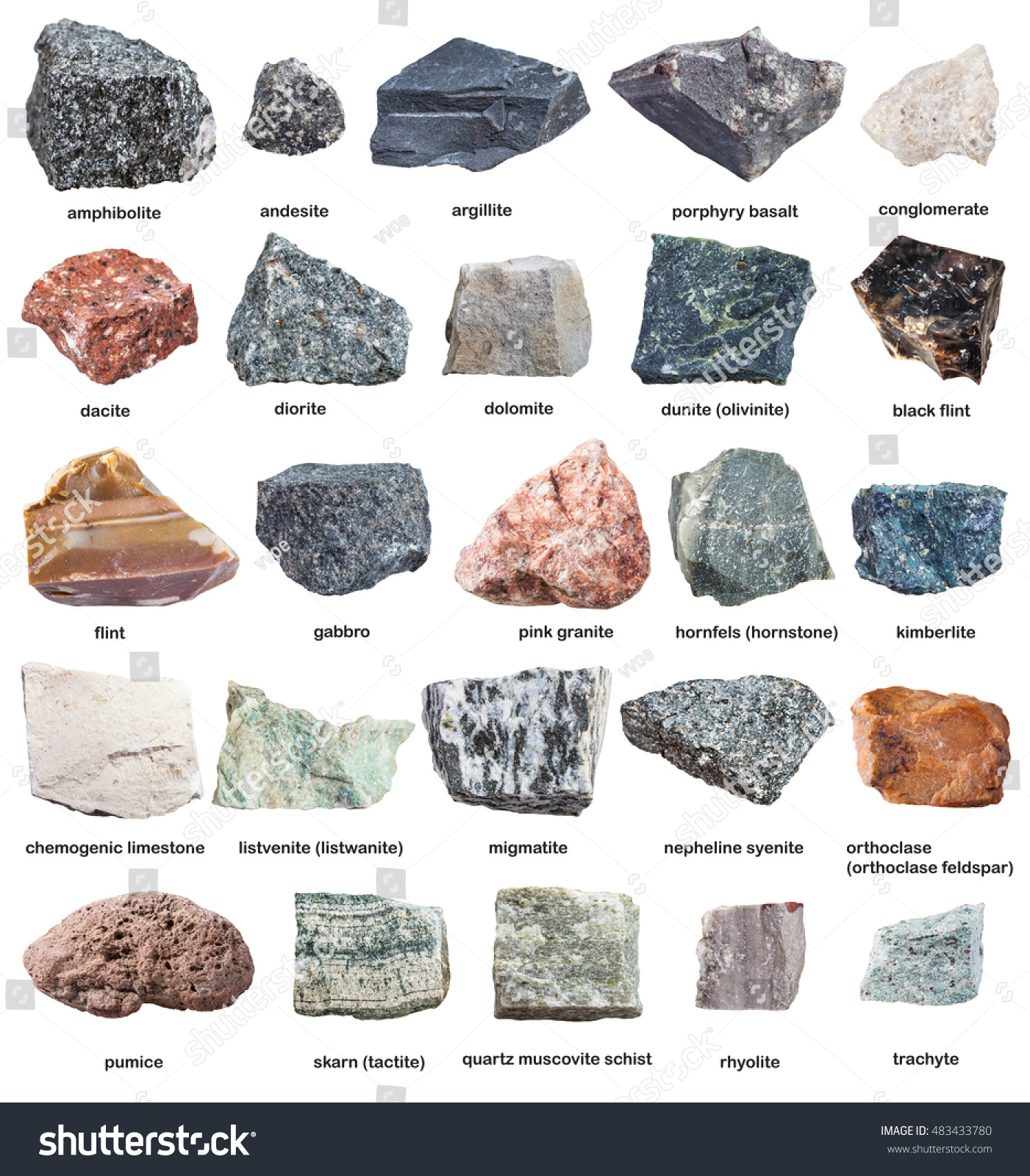 Various Raw Rocks Names Isolated On Stock Photo 483433780 ...