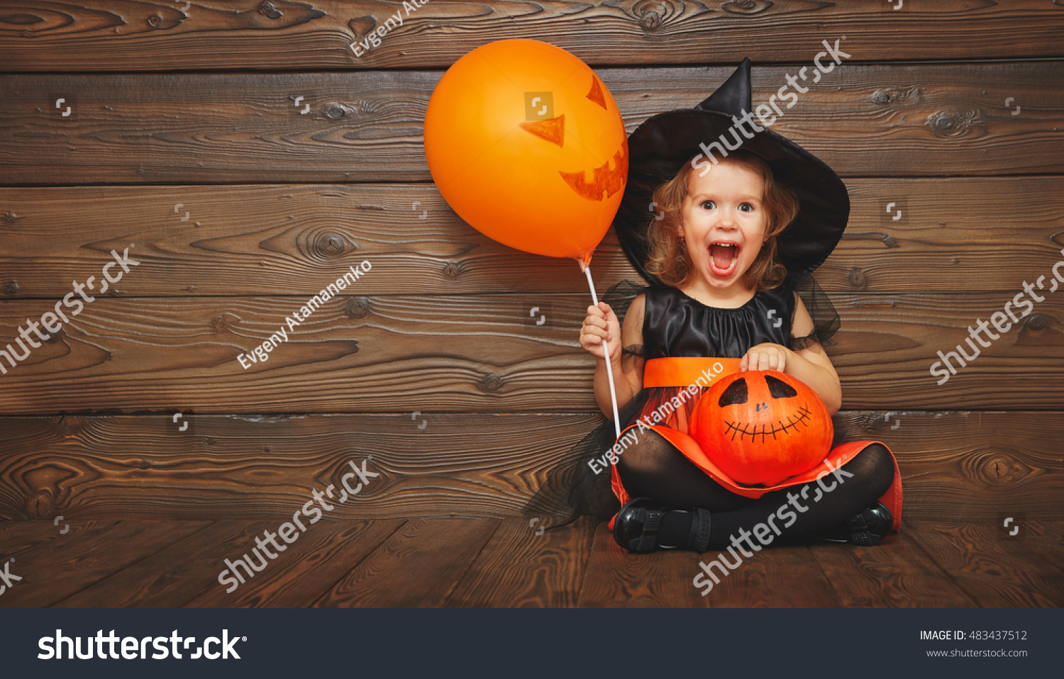 Funny Child Girl In Witch Costume For Halloween With Pumpkin Jack ...