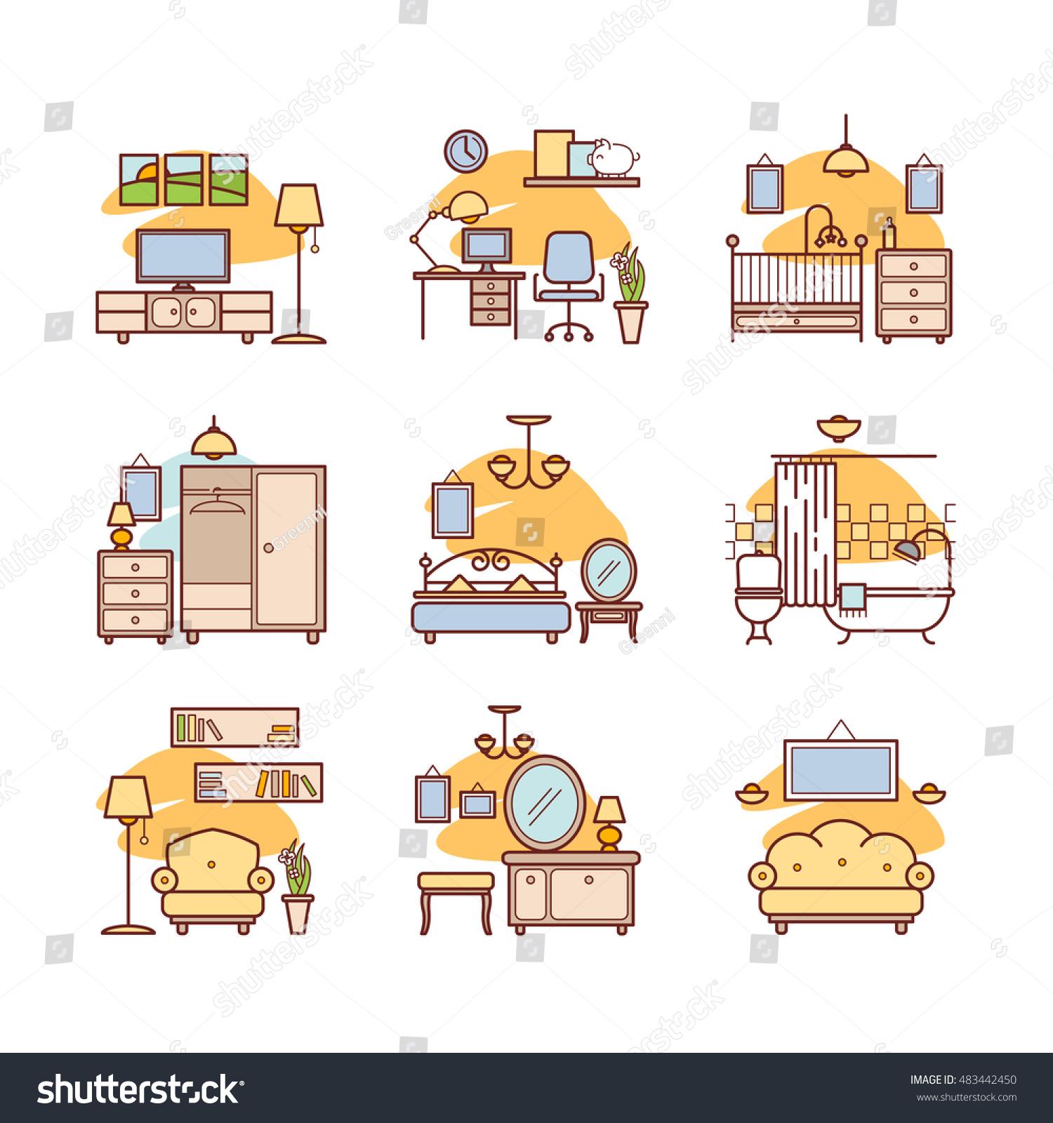 Home Room Icons Interior Design Set Living Bedroom Bathroom