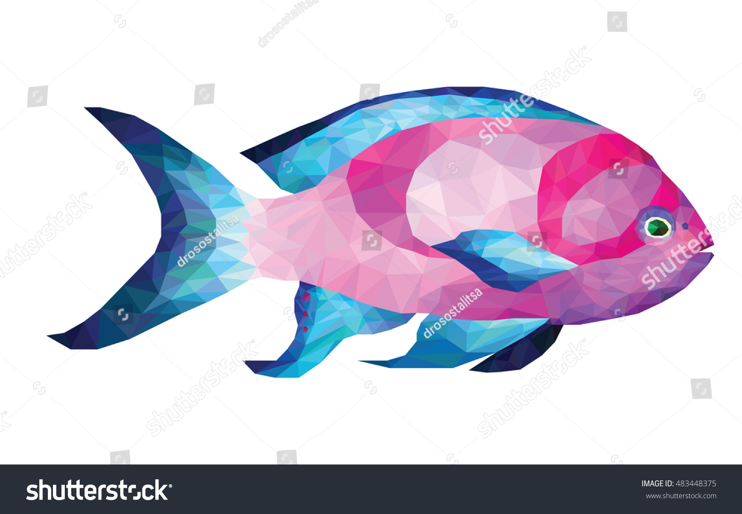 Low poly design tropical fish beautiful stock vector 483448375 low poly design of tropical fish beautiful pink and blue fish vector jeuxipadfo Images
