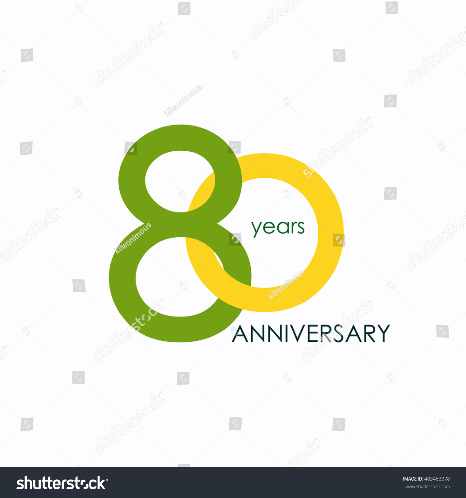 80 Years Anniversary Signs Symbols Which Stock Vector Royalty Free