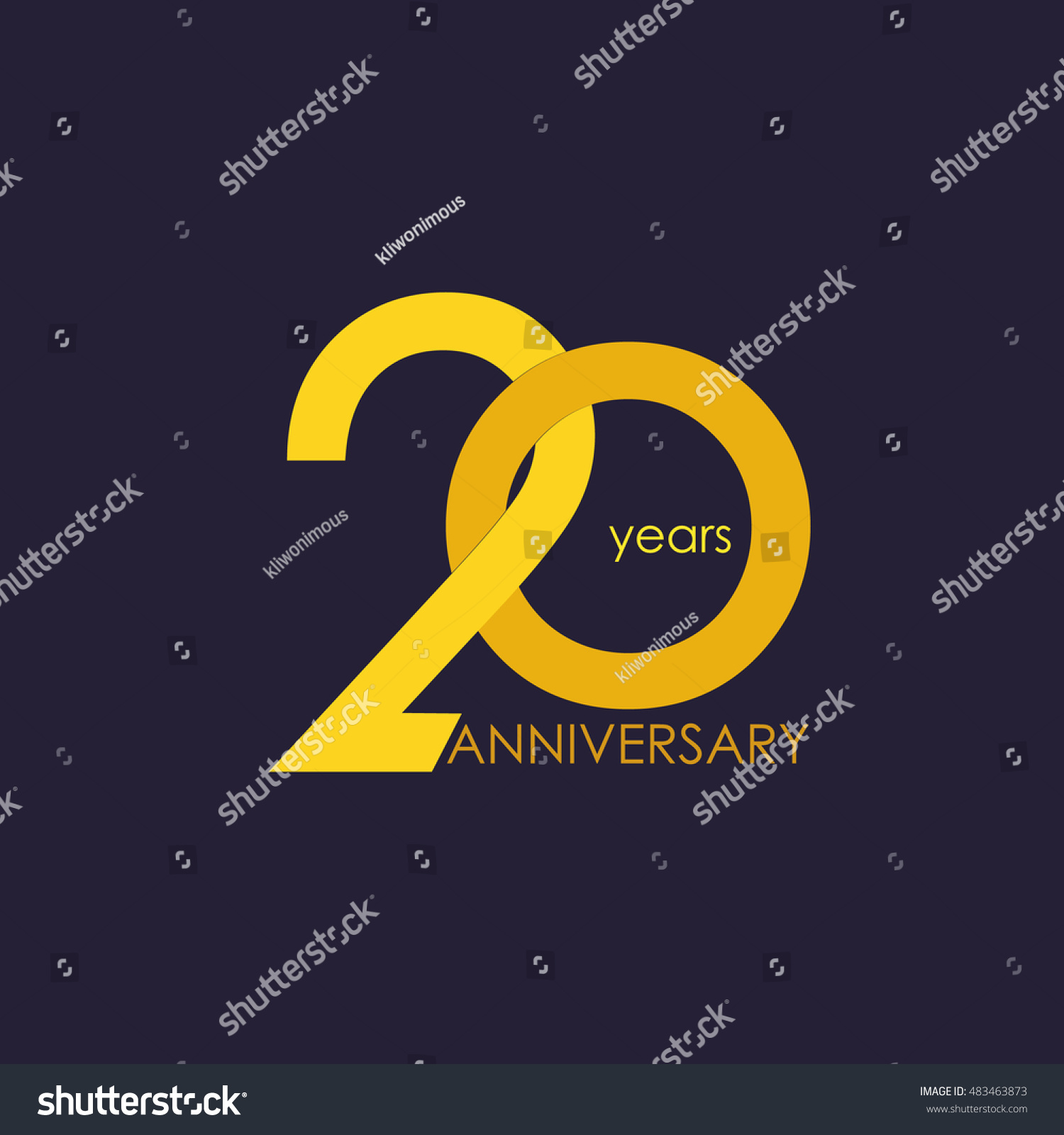 20 Years Anniversary Signs Symbols Which Stock Vector Royalty Free