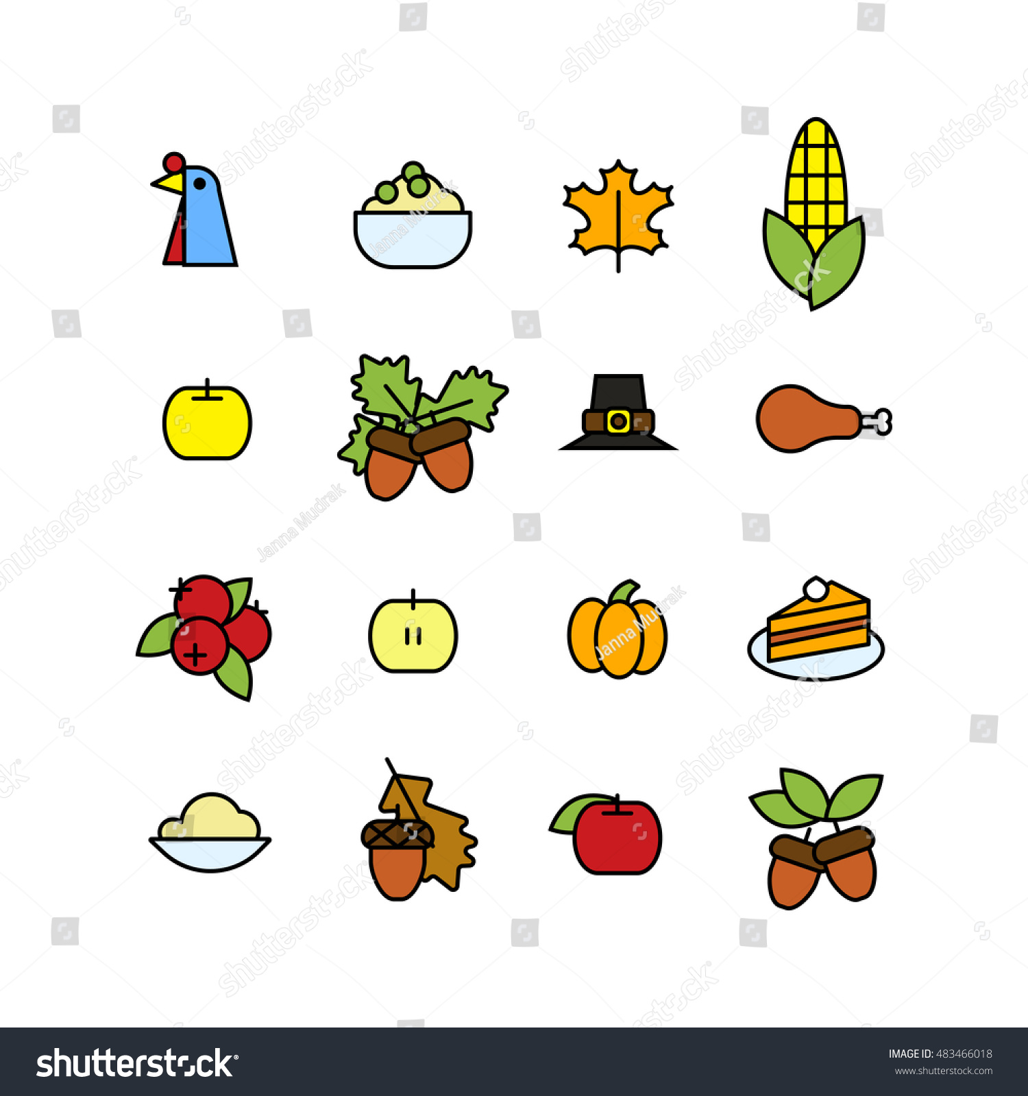 Set Abstract Thanksgiving Day Icon Holiday Stock Vector Royalty