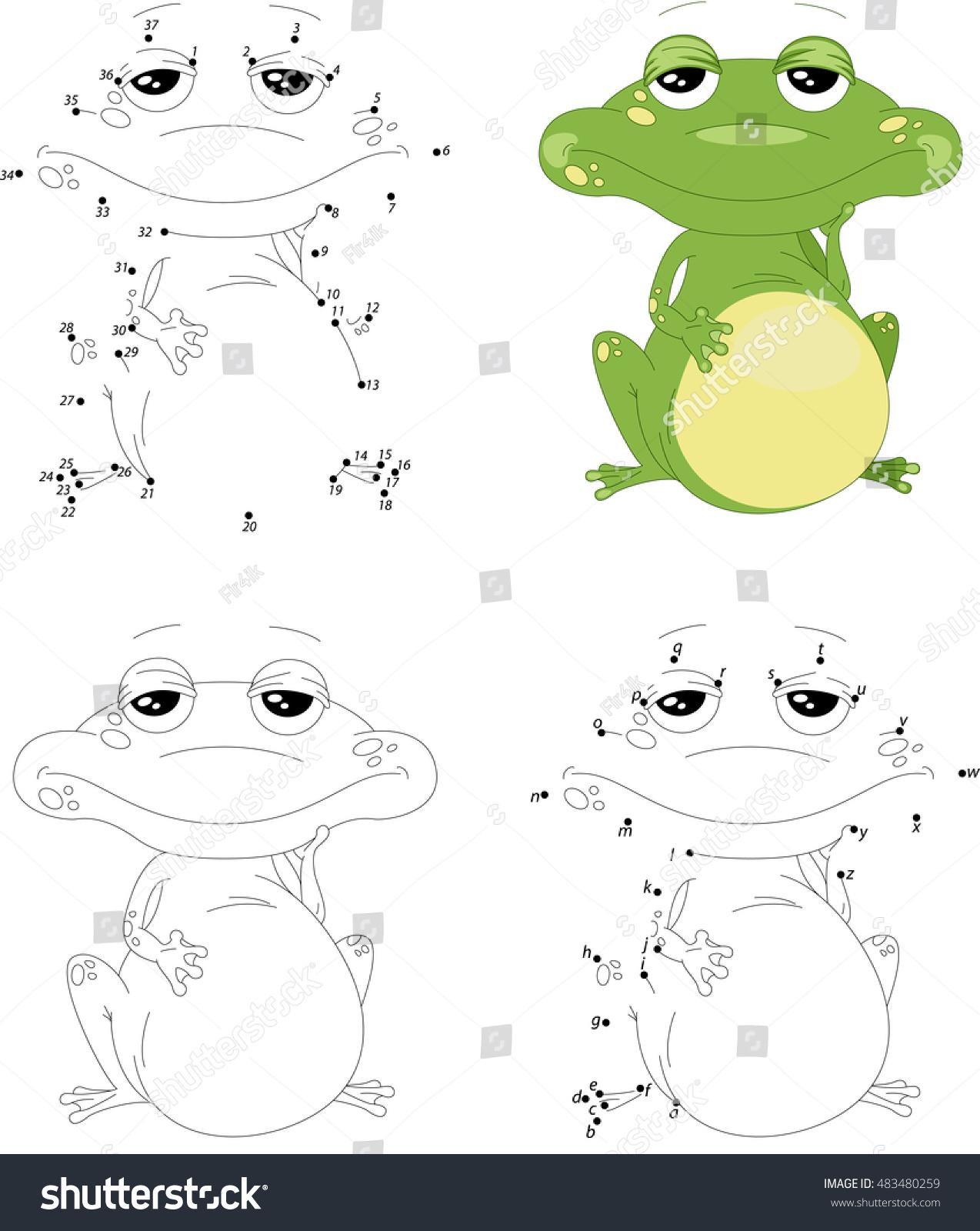 Cartoon Green Frog Coloring Book Dot Stock Illustration 483480259 ...