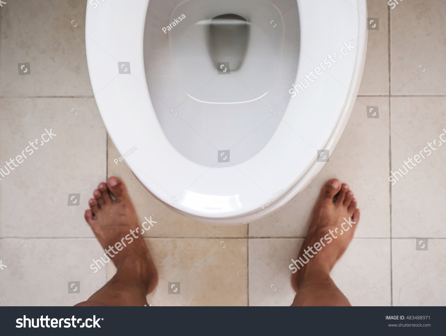 Top View Toilet Lavatory Bare Feet Stock Photo (Edit Now) 483488971 ...