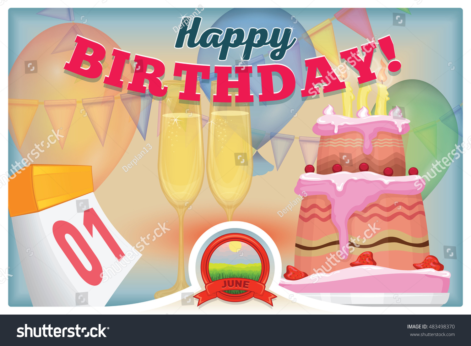 1 June Greeting Card With Happy Birthday Colored Vector Illustration Flyer The