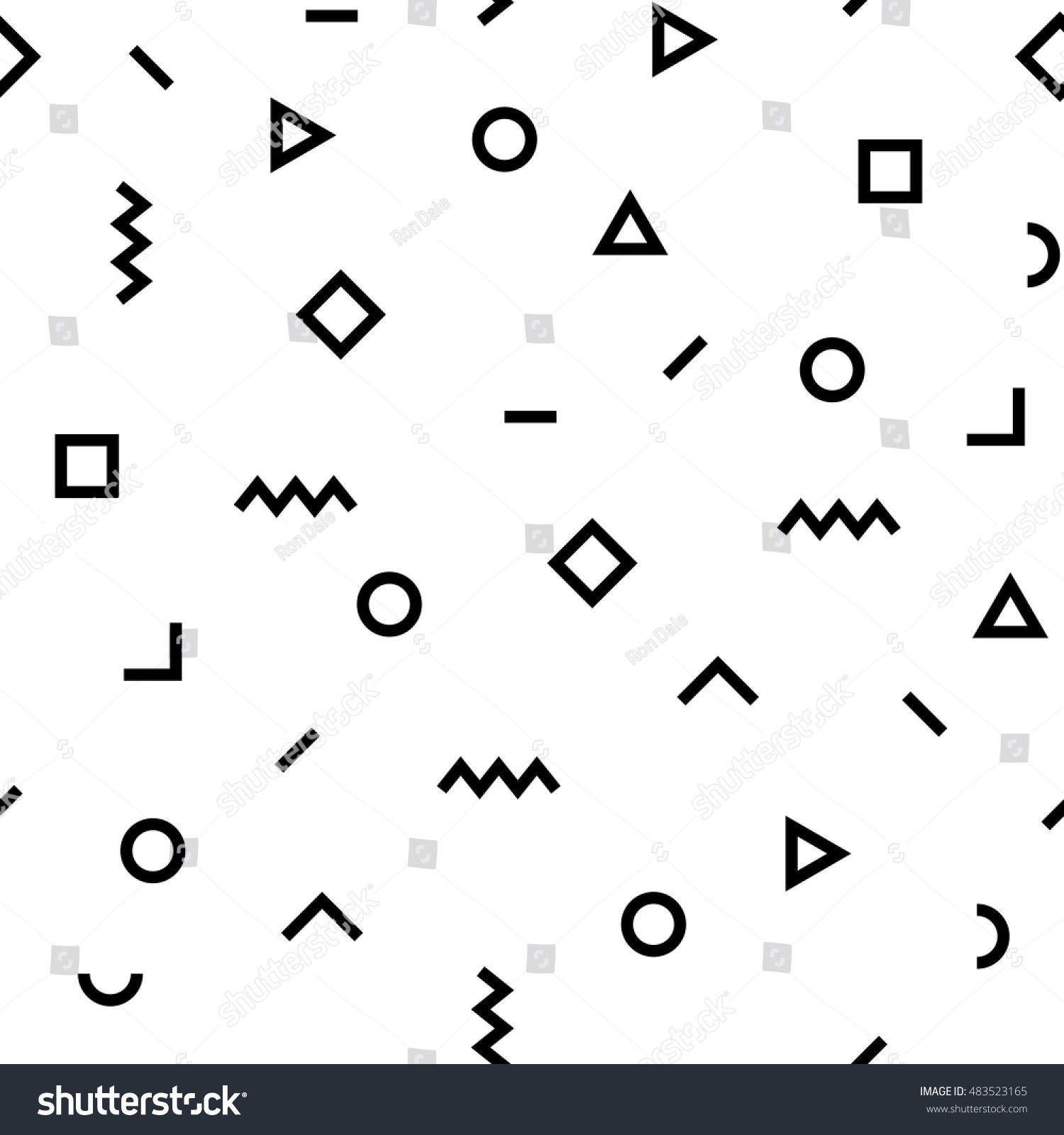 Vector Hipster Pattern Black White Geometric Stock Vector ...