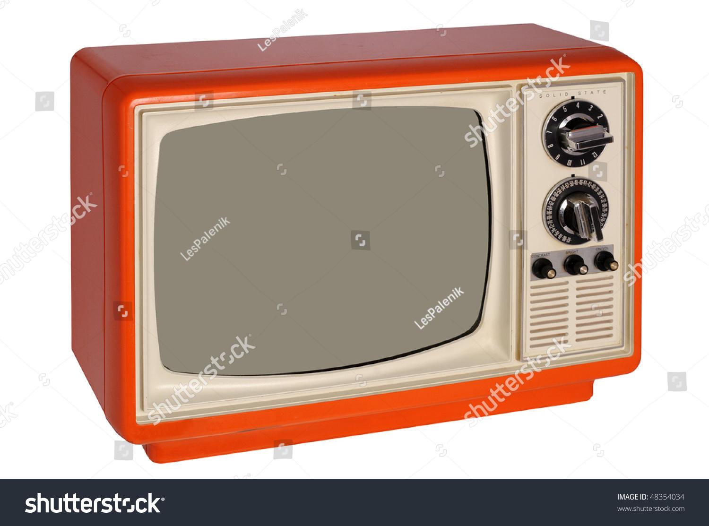 retro orange tv set stock photo 48354034 shutterstock. Black Bedroom Furniture Sets. Home Design Ideas