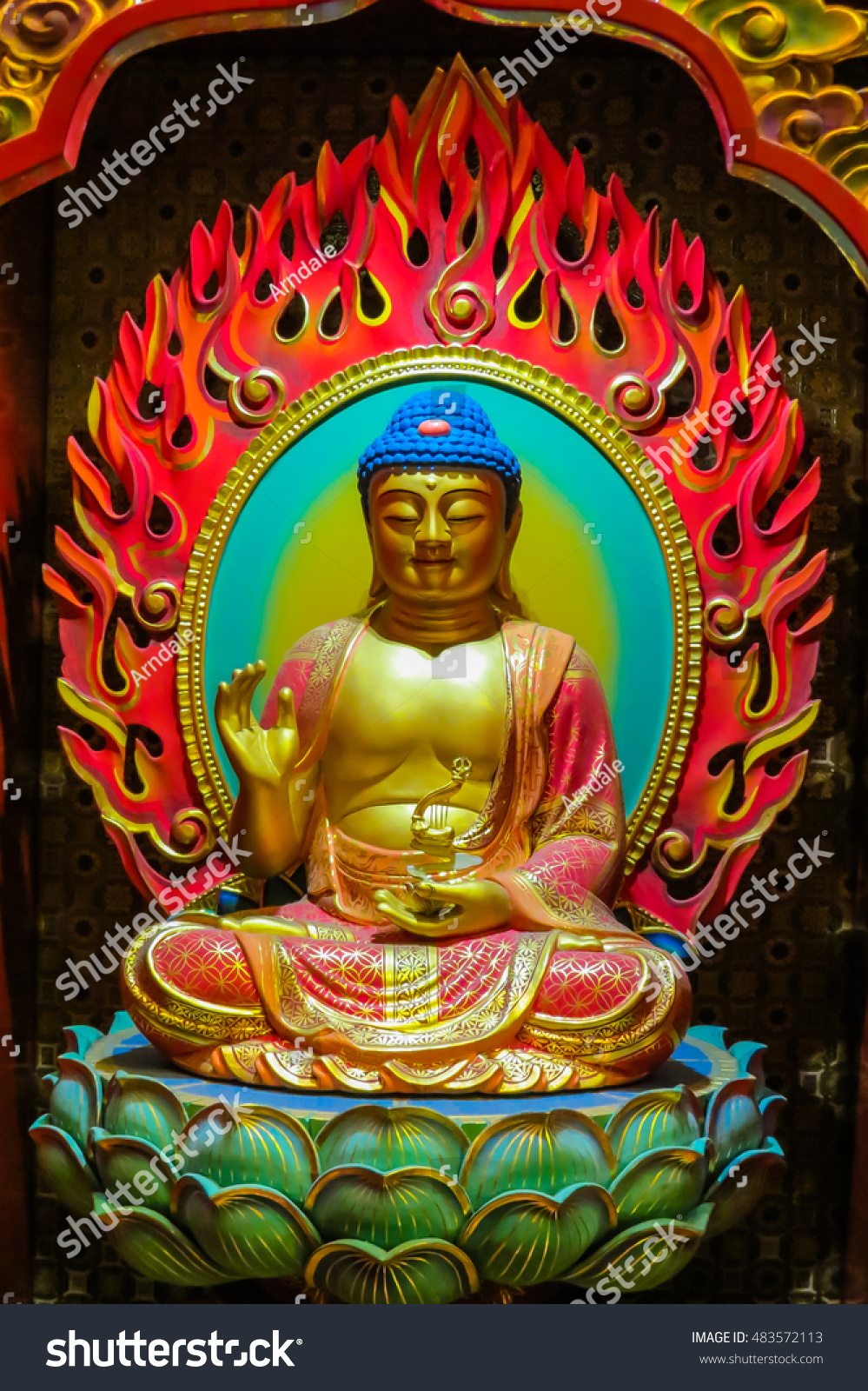 Buddha Image That Is Carved Of Wood Buddha Sitting In A Lotus