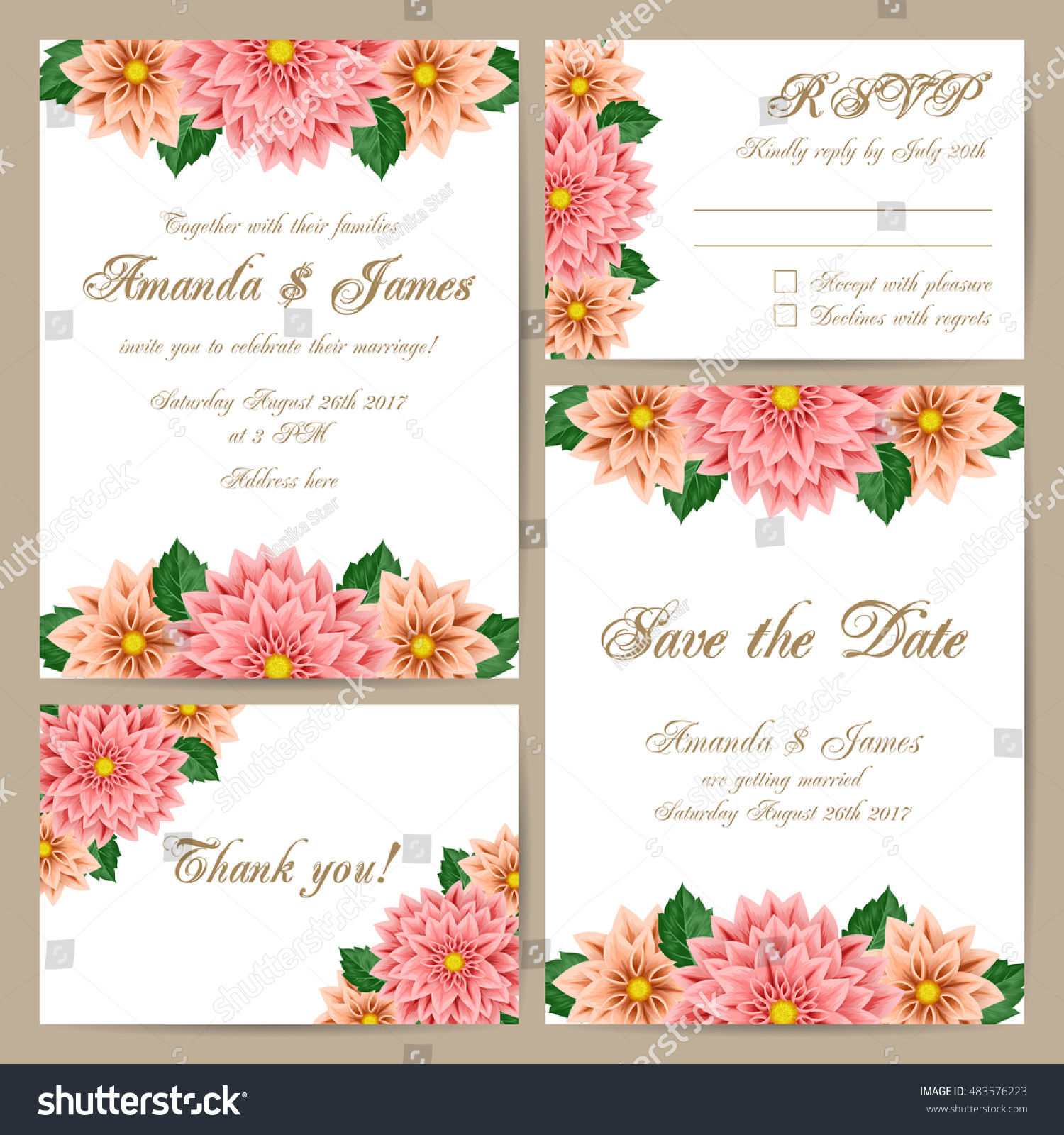 Set Wedding Cards Delicate Floral Ornament Stock Vector (2018 ...