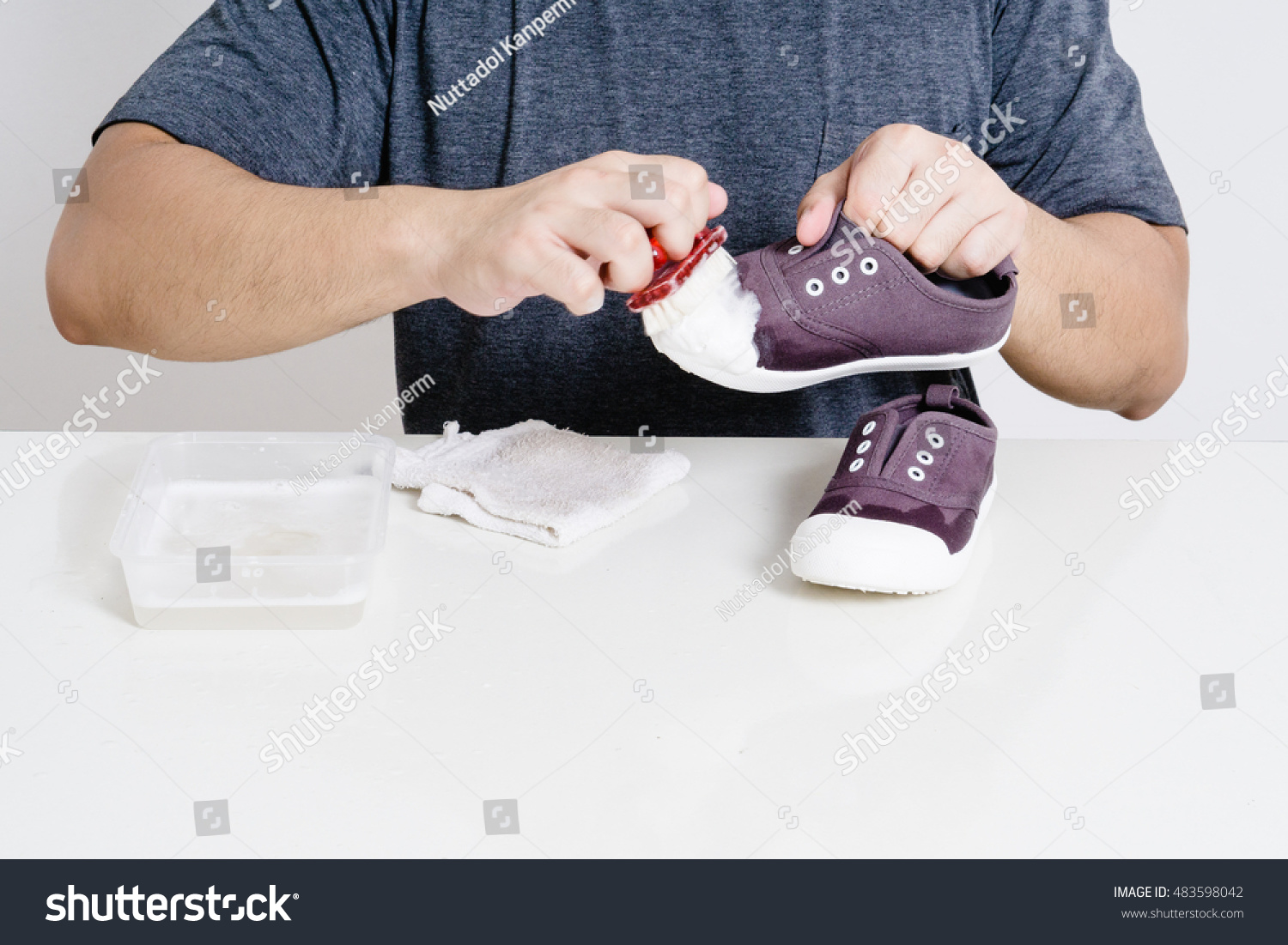 Sneaker Father Cleaning Sneakers His