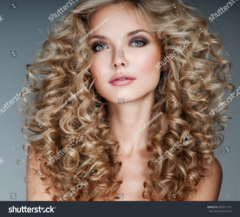 Beautiful Blonde Woman Healthy Long Blond Stock Photo ...