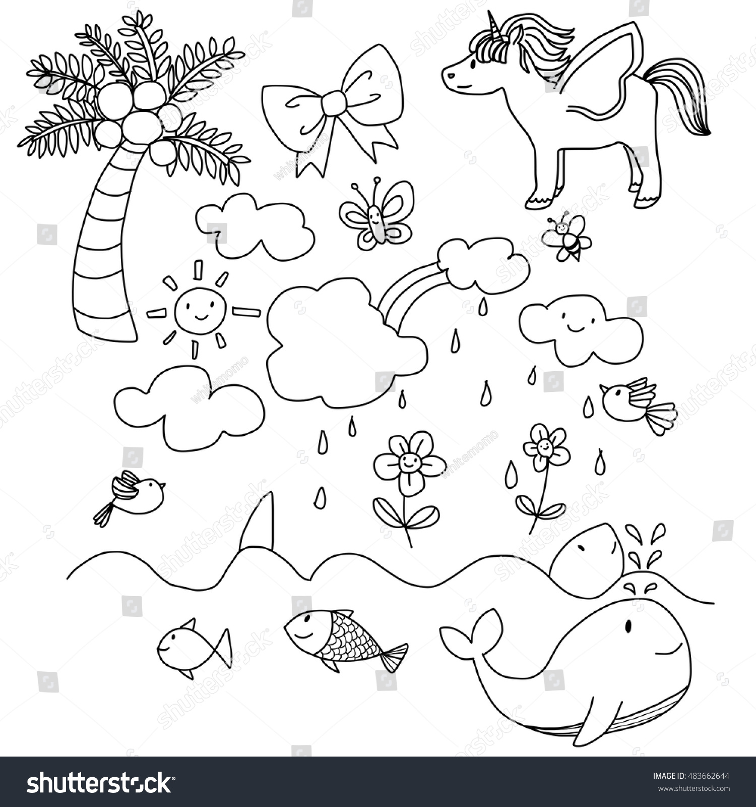set cute pictures kids such unicorn stock vector 483662644
