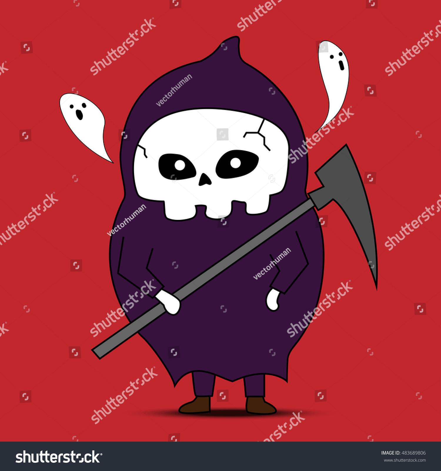 Angel Death Cartoon Vector Halloween Party Stock Vector 483689806 ...