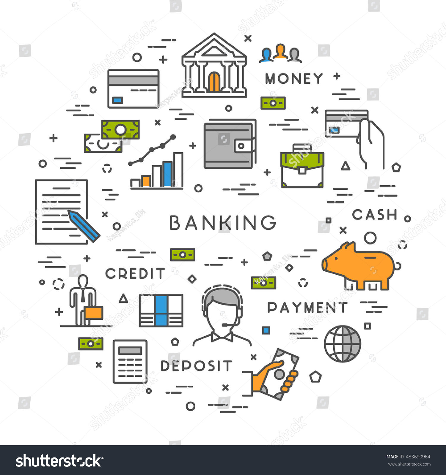 Vector line concept banking modern linear stock vector 483690964 vector line concept for banking modern linear symbol for investment open path biocorpaavc Gallery