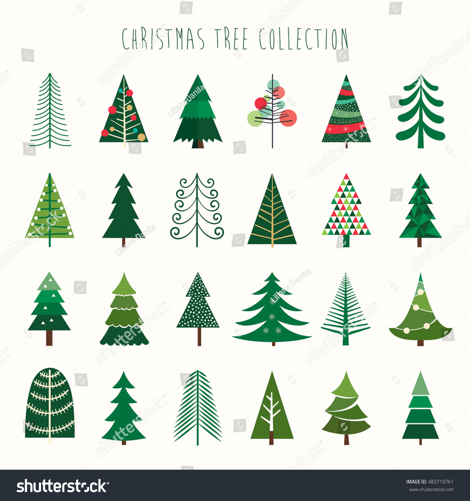 Christmas Tree Collection Trowbridge : Christmas tree collection stock vector illustration