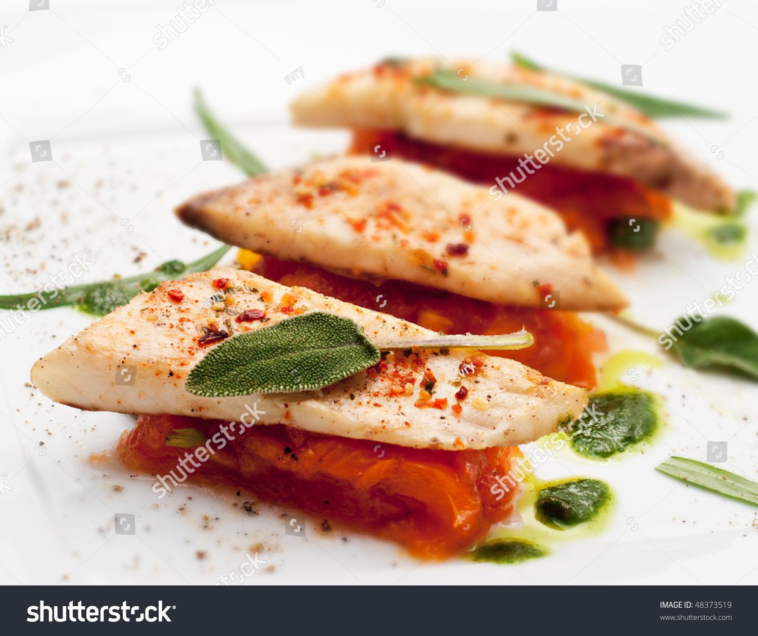 Bbq fillet of fish with vegetables and greens stock photo for Fish with vegetables