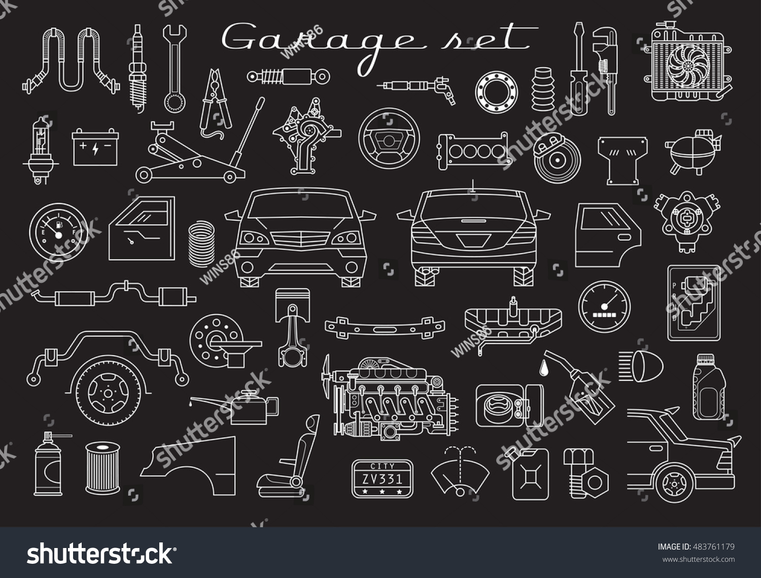 Garage vector car parts set outline stock vector 483761179 for Garage auto discount montpellier