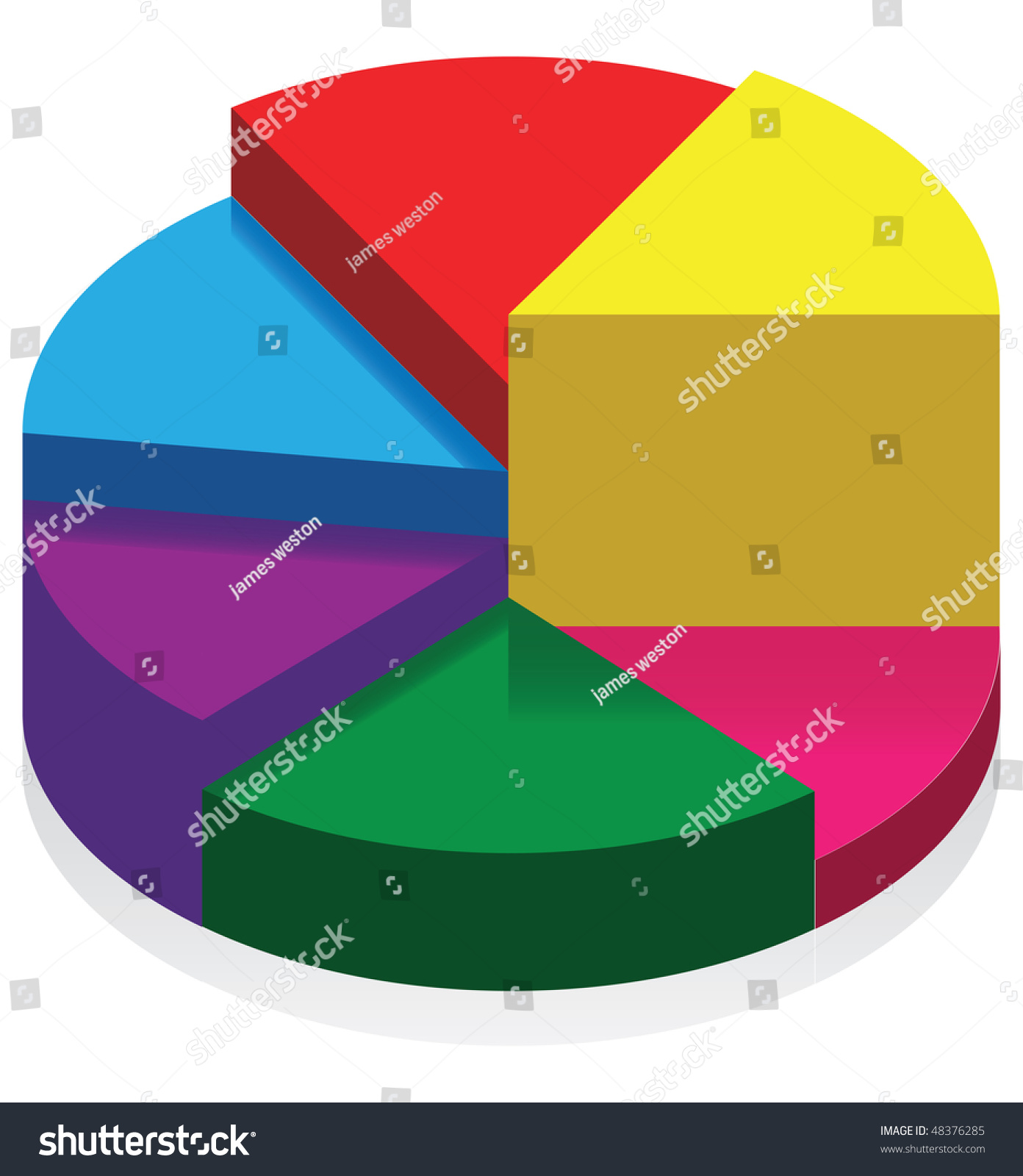 3d pie chart stock vector 48376285 shutterstock 3d pie chart geenschuldenfo Image collections