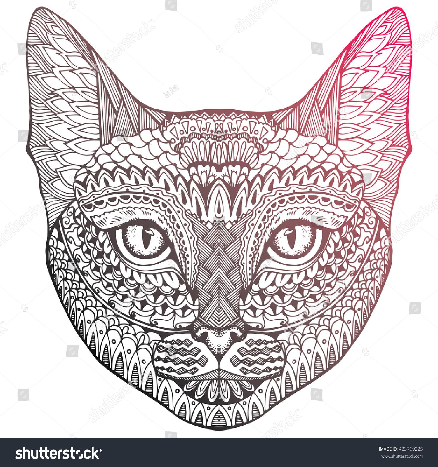 Uncategorized Cat Head Drawing cat portrait cats head cute stock vector 483769225 shutterstock of a animal a
