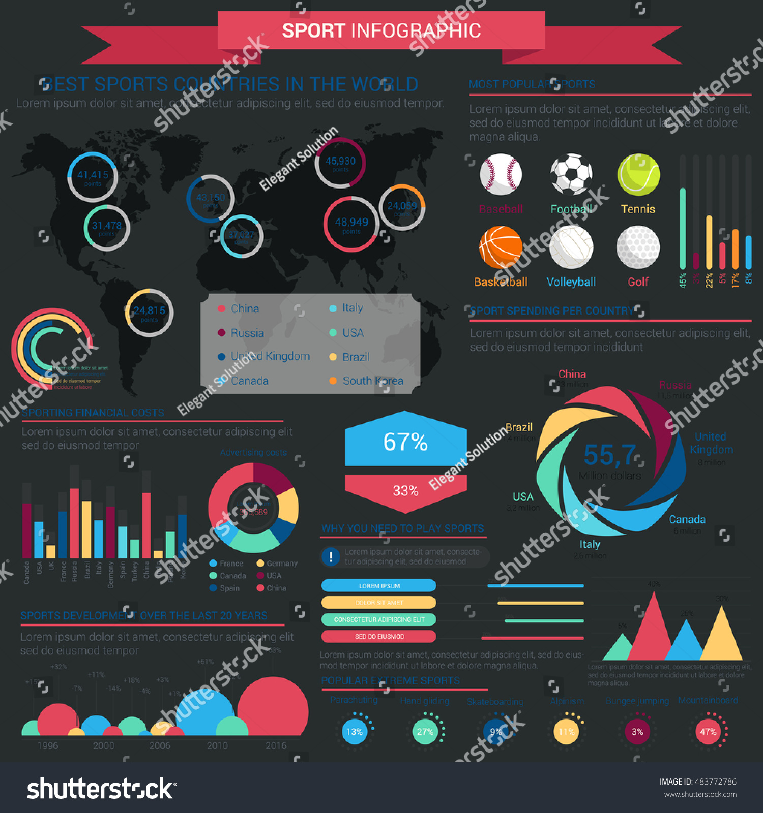 Sports infographic infochart template linear conus stock for Sports infographics templates