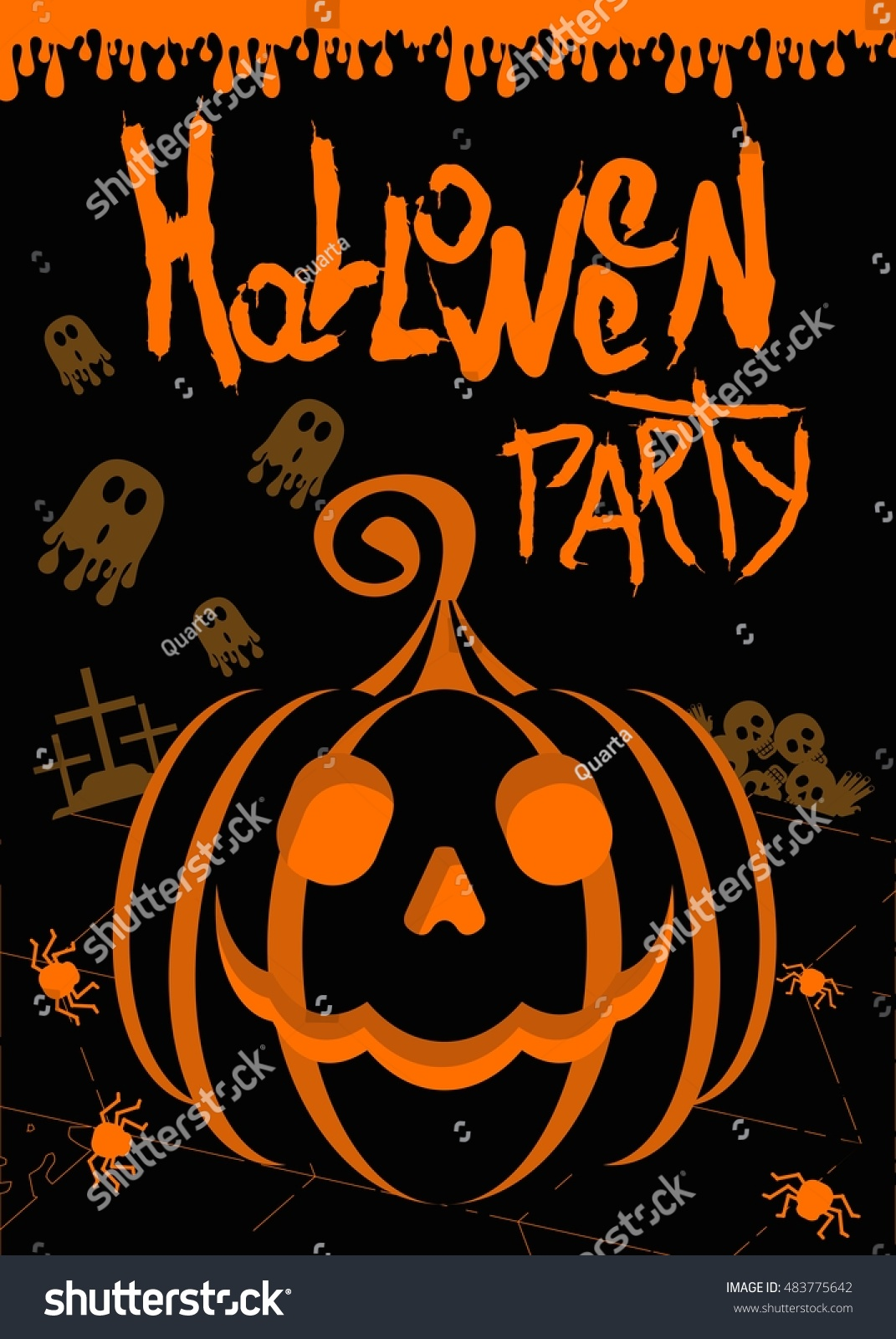 Vector Halloween Party Poster Template Pumpkin Stock Photo (Photo ...