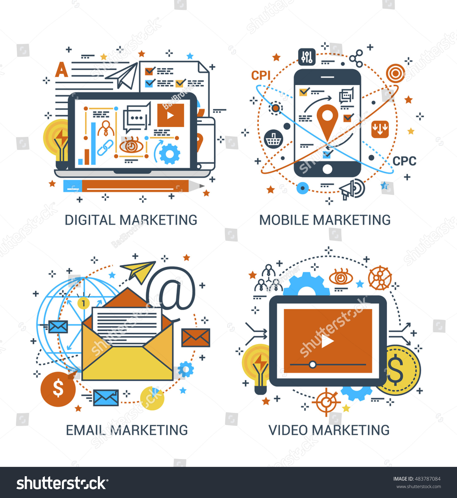 Thin Line Flat Design Concept Digital Stock Vector Royalty Free Remote Control Circuit Board Promotiononline Shopping For Promotional Of Marketing And Mobile Email Video