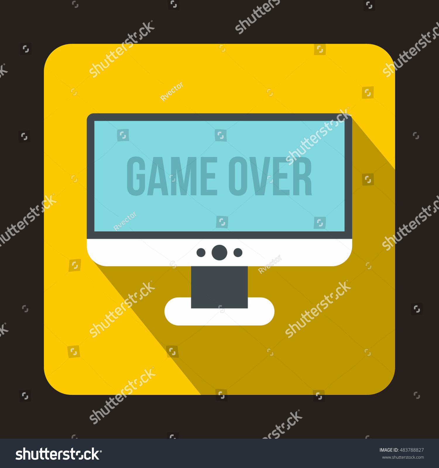 Monitor word game over icon flat stock illustration 483788827 monitor with word game over icon in flat style with long shadow play symbol buycottarizona