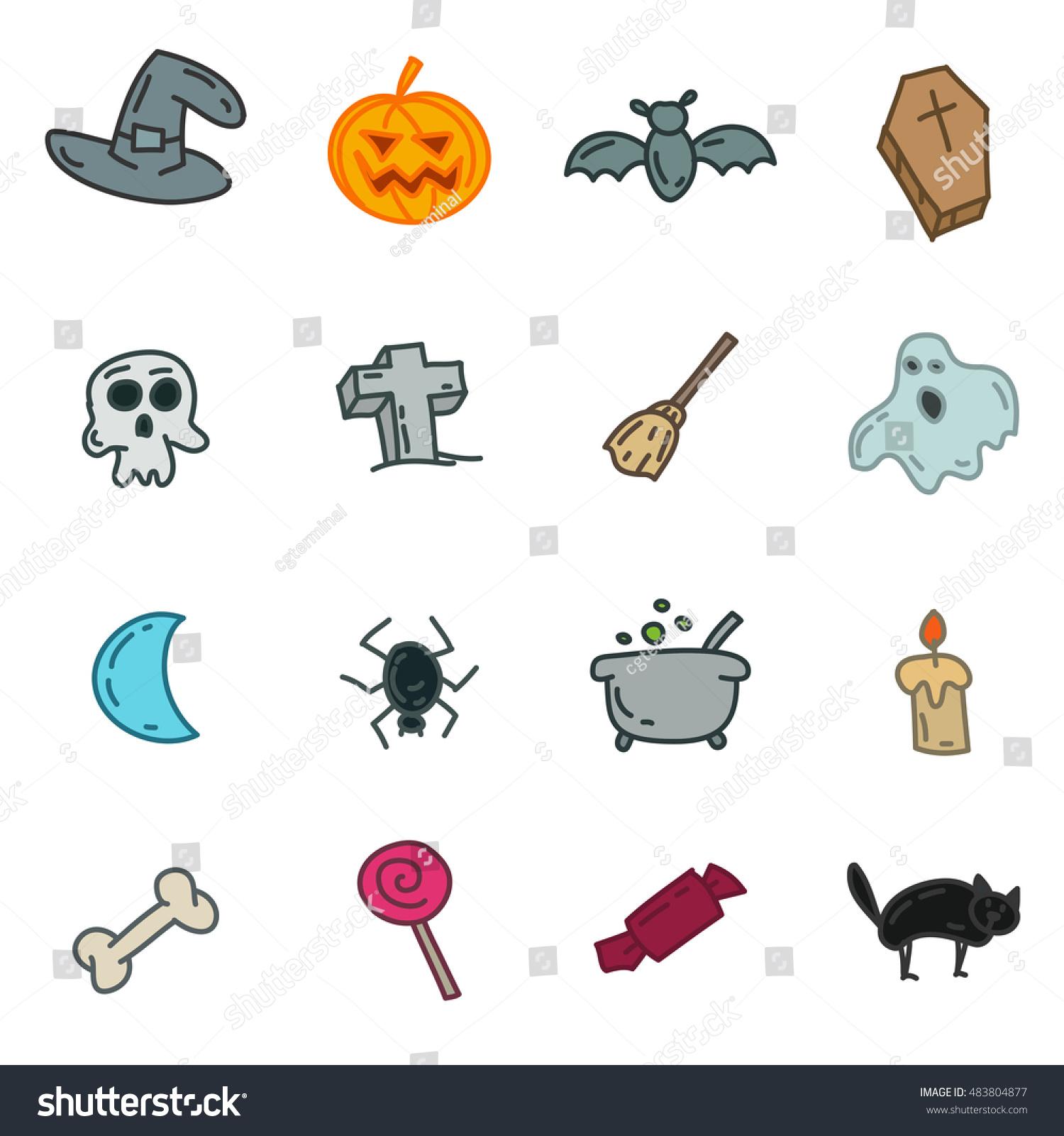 Cartoon Funny Halloween Doodles Hand Drawn Stock Vector Royalty