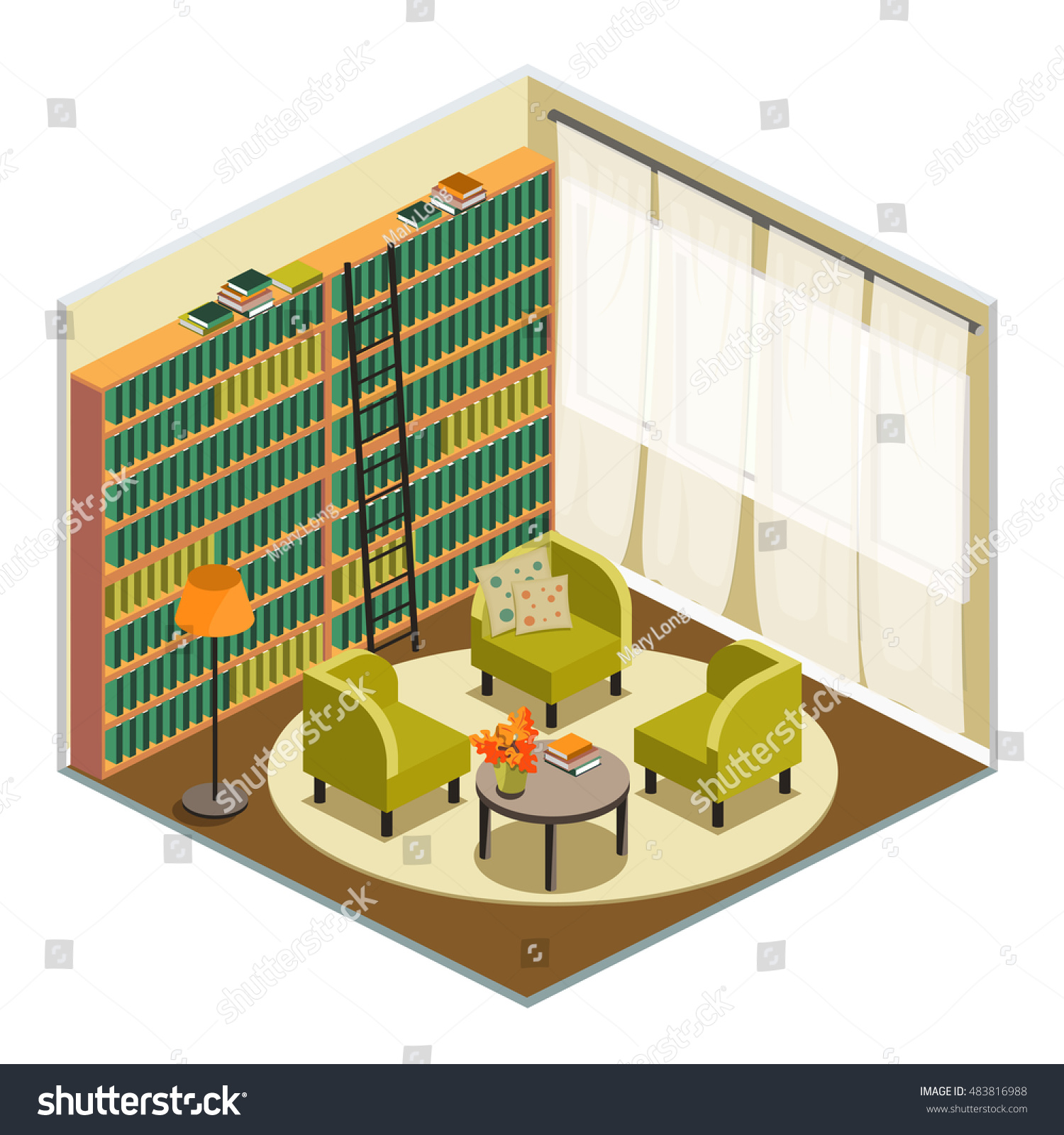 Interior Home Library In Isometric View, Room For Reading And Relaxing With  Easy Chairs And