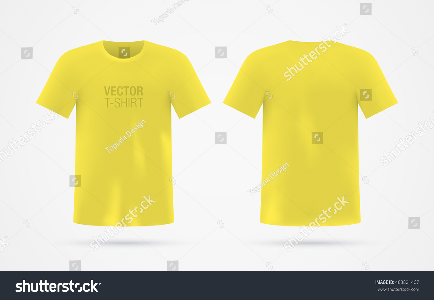 Mens Yellow Vector Tshirt Template Isolated Image Vectorielle De