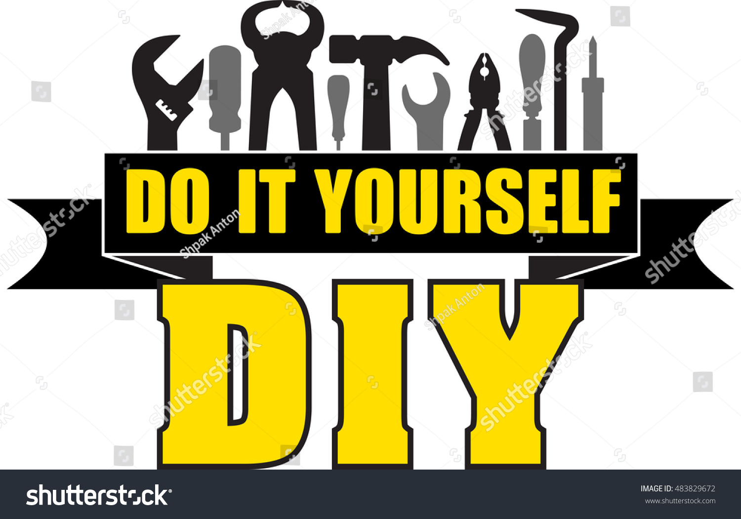 Diy do yourself banner silhouettes workers stock vector 483829672 diy do it yourself banner with silhouettes of workers tools hammer screwdriver pliers solutioingenieria Image collections