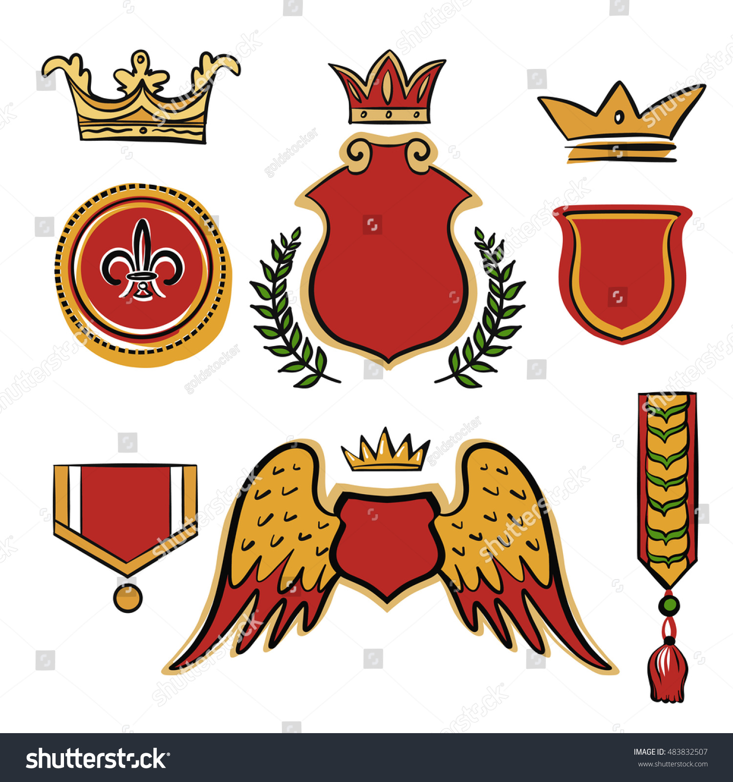 set freehand drawn vector vintage design stock vector royalty free