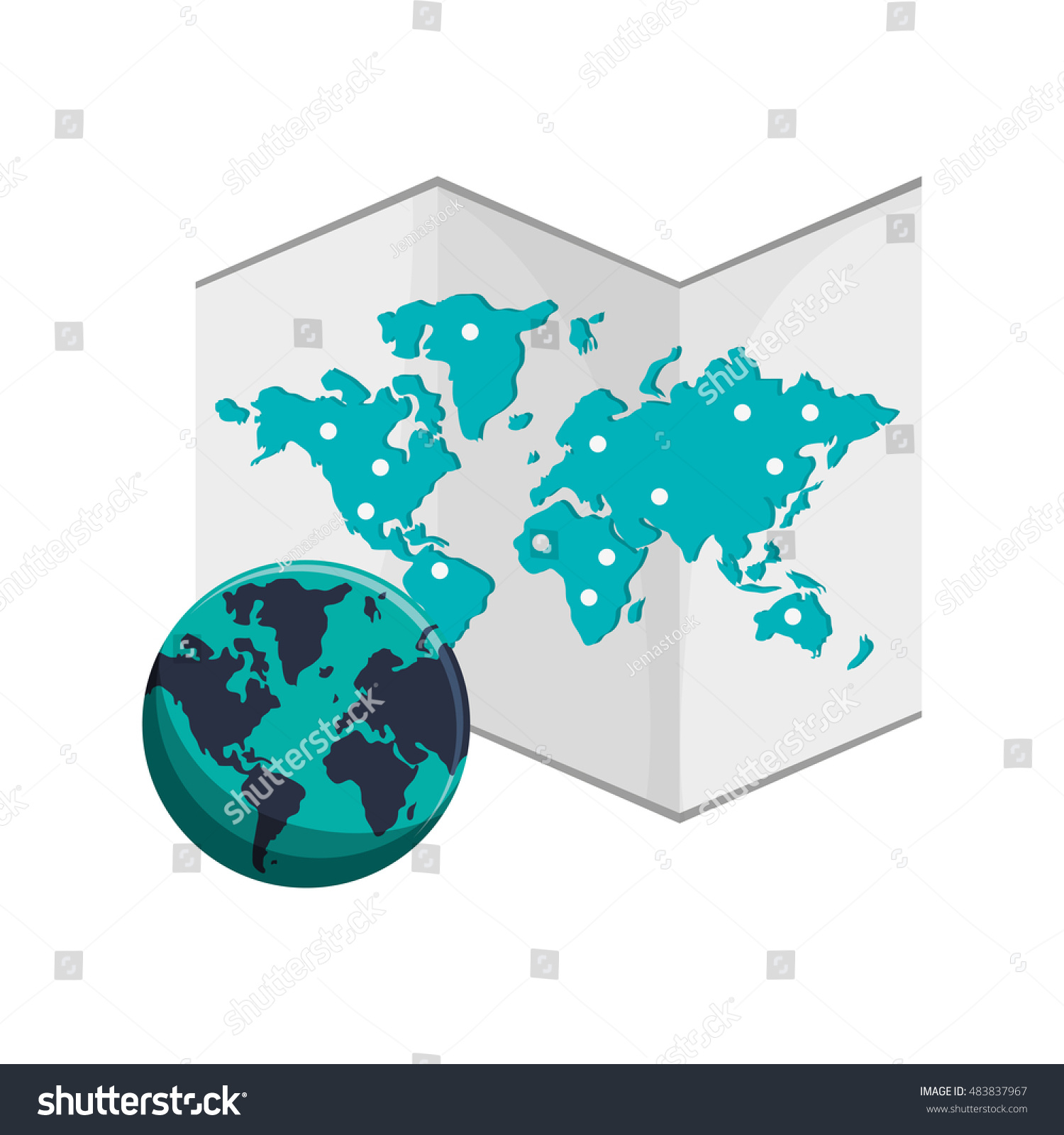 World map earth globe icon stock vector 483837967 shutterstock gumiabroncs Gallery